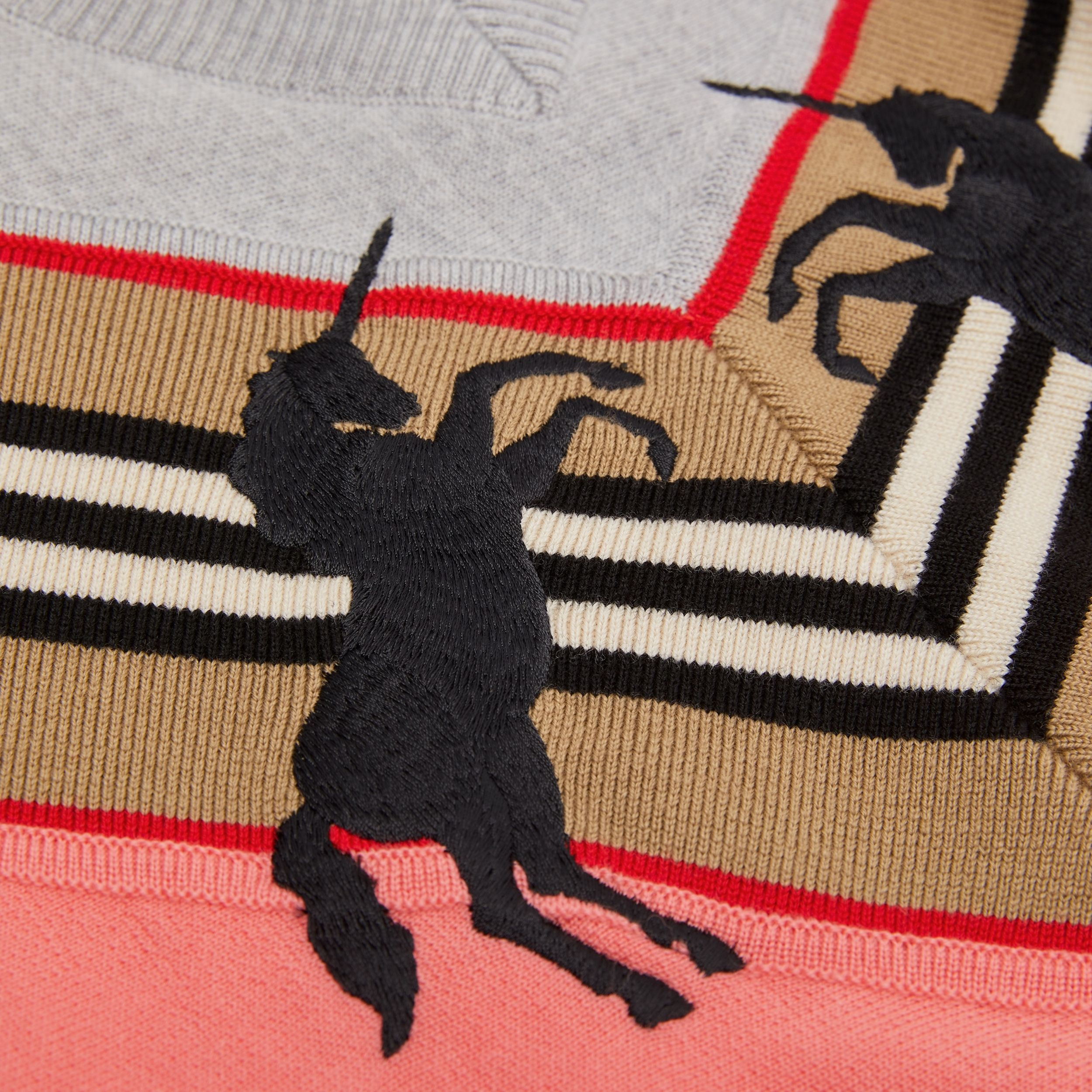 Unicorn Embroidered Technical Wool Sweater in Peach - Children | Burberry Hong Kong S.A.R. - 2