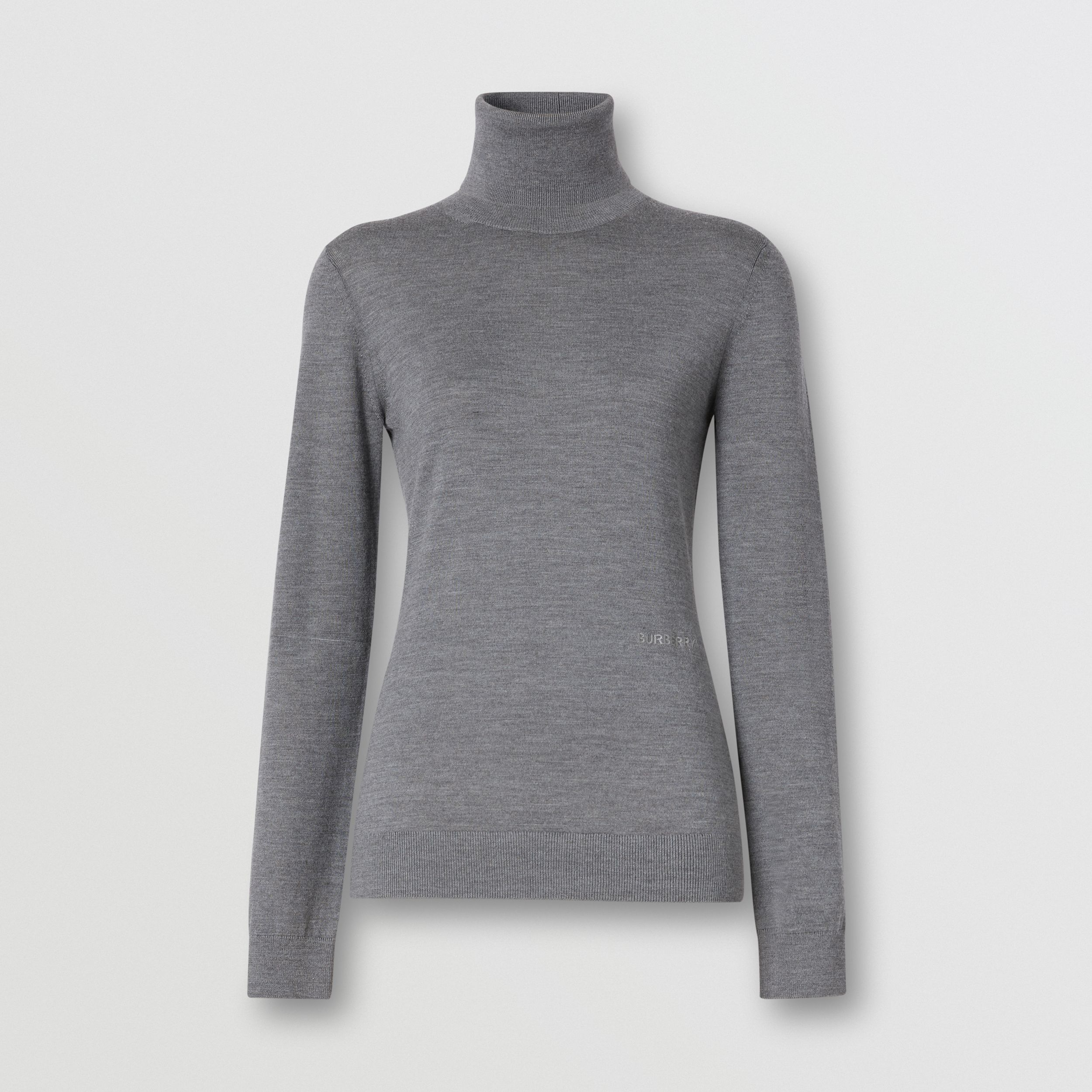 Two-tone Merino Wool Silk Roll-neck Sweater in Grey Melange - Women | Burberry - 4
