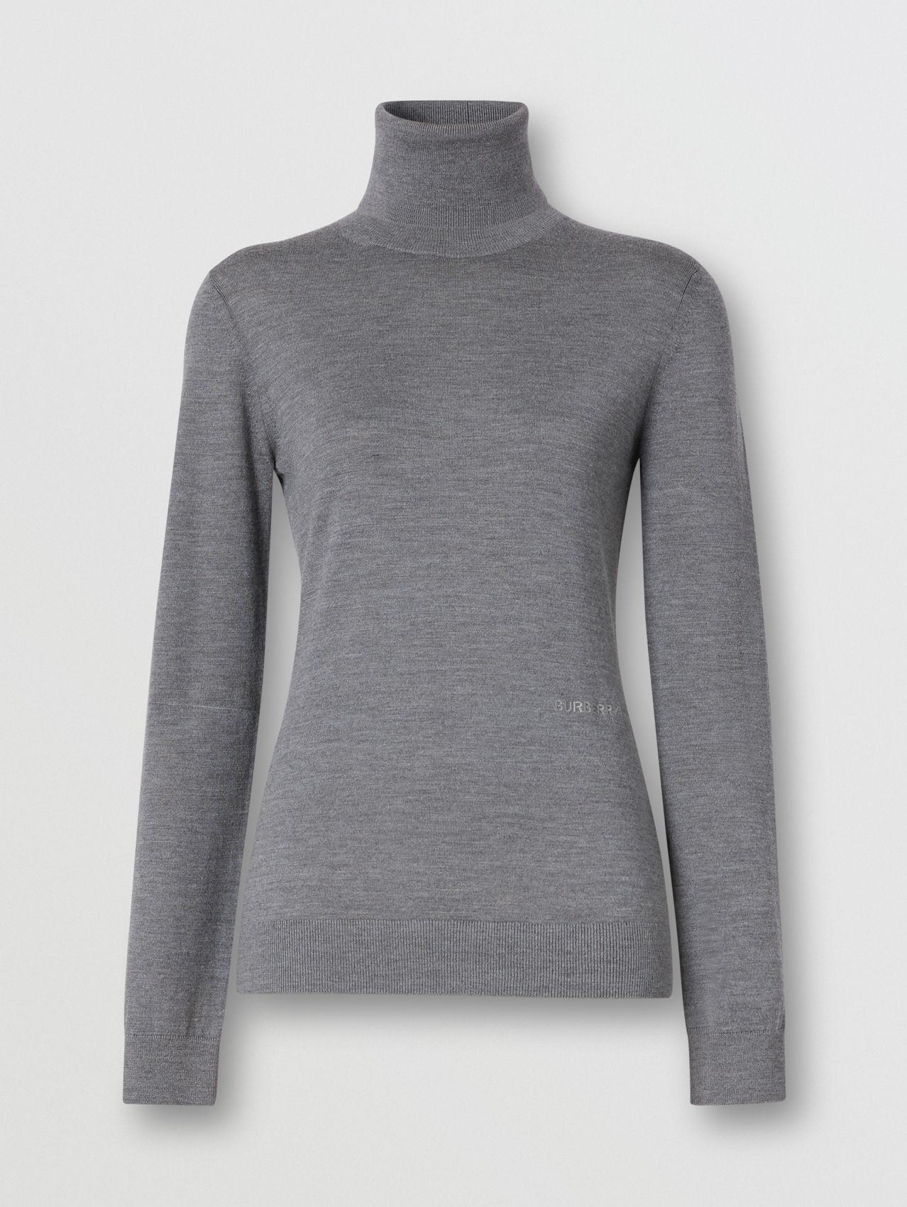 Two-tone Merino Wool Silk Roll-neck Sweater in Grey Melange