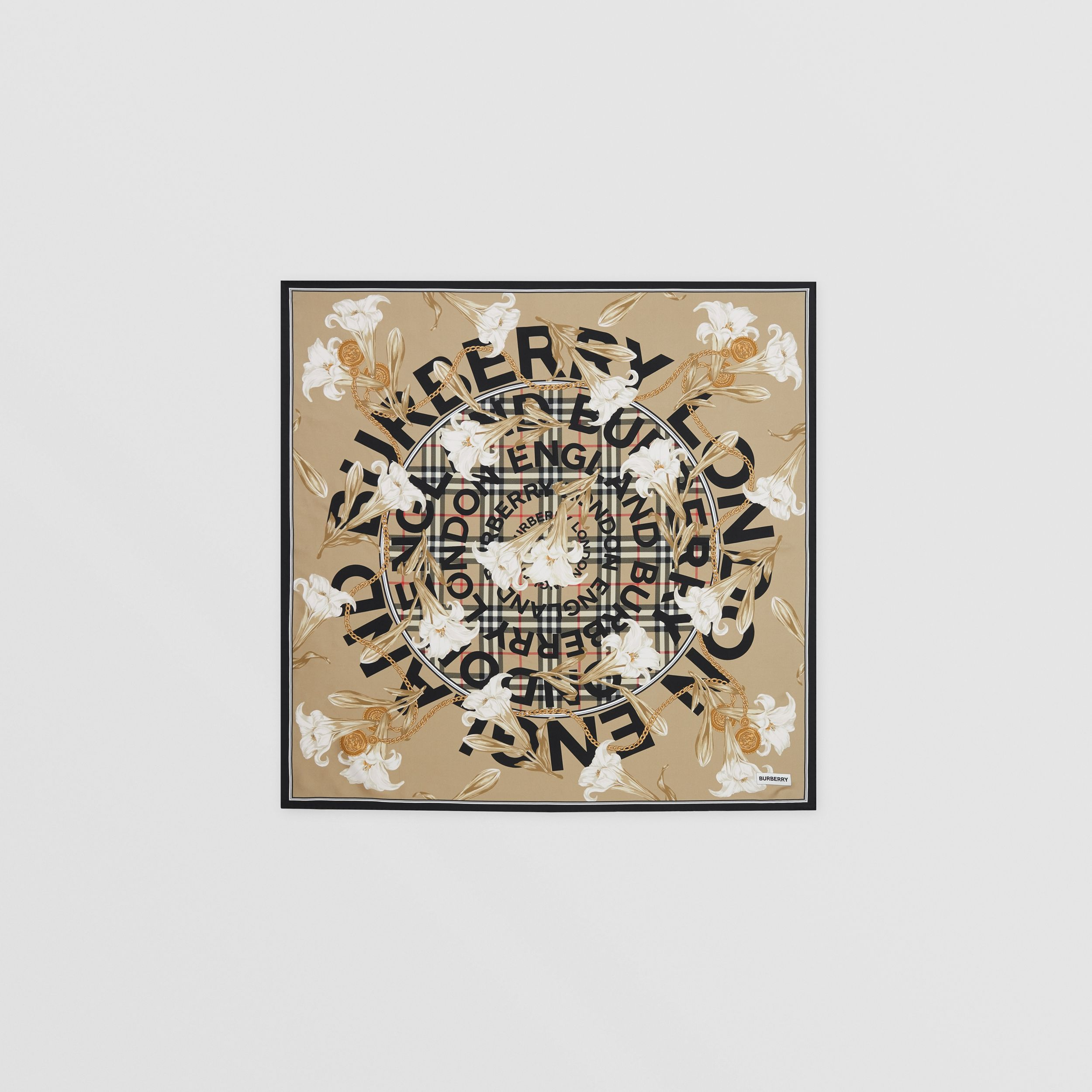 Archive Scarf Print Silk Square Scarf in Beige | Burberry - 1