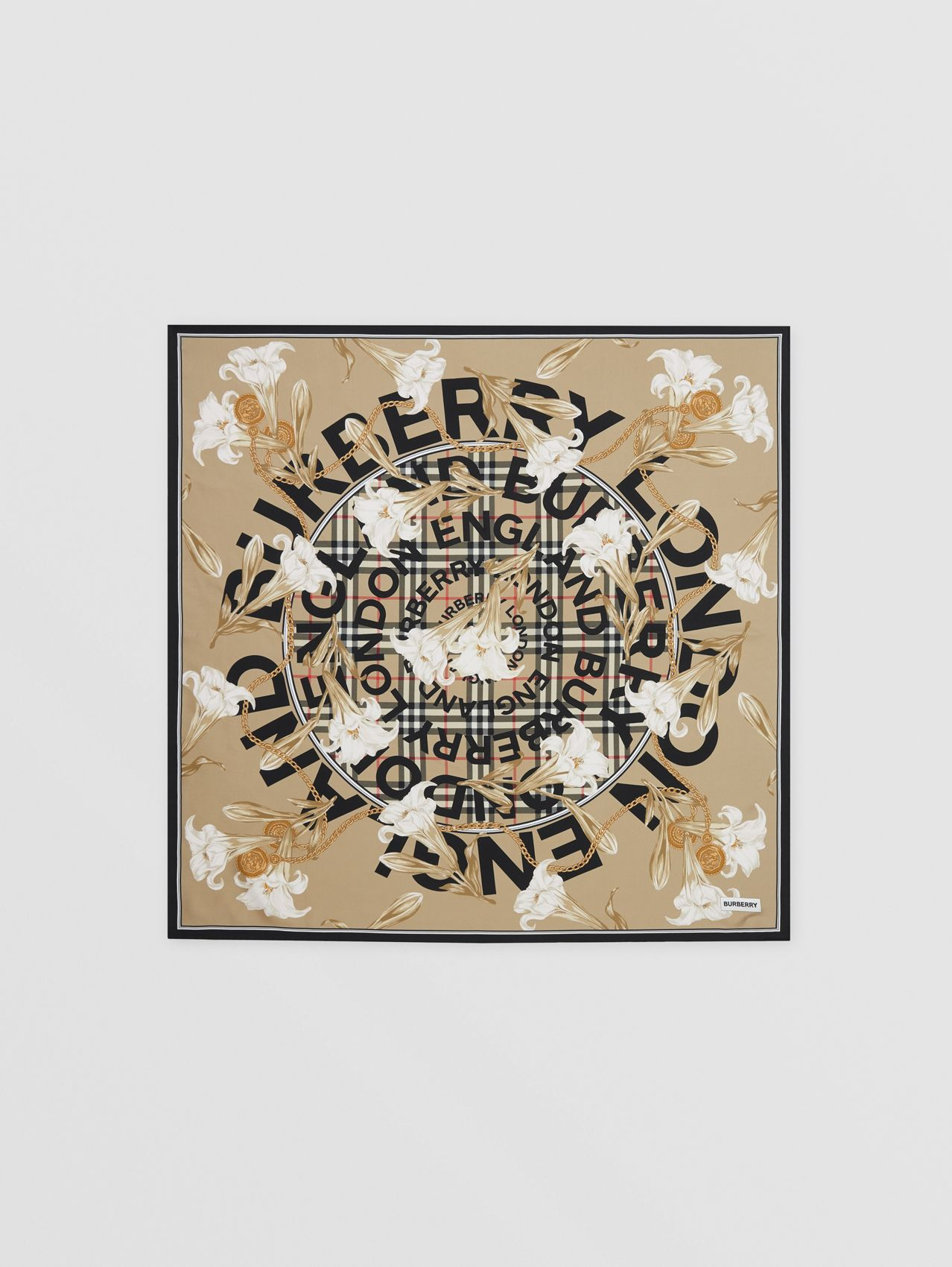 Archive Scarf Print Silk Square Scarf in Beige