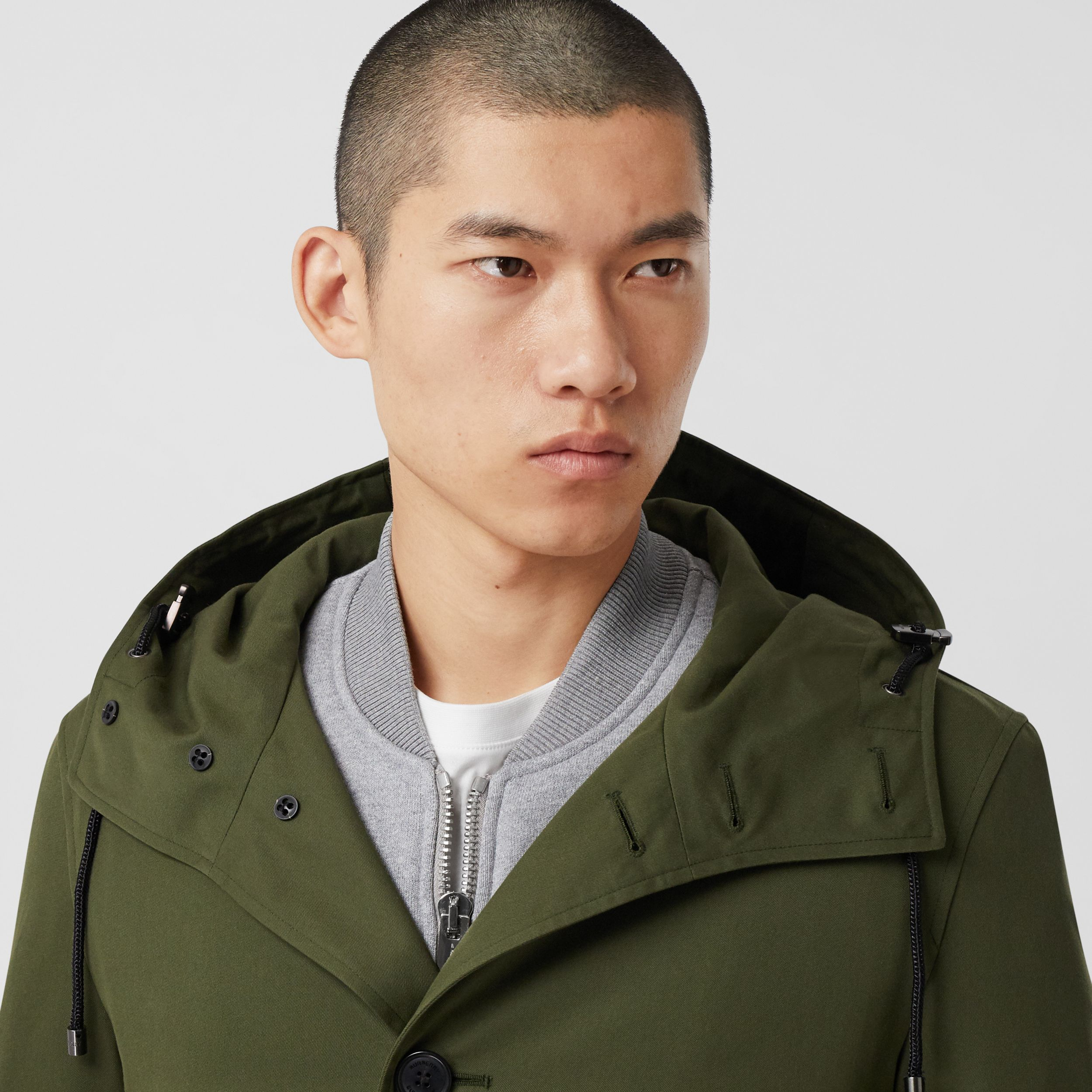 Cotton Gabardine Hooded Coat in Dark Olive Green - Men | Burberry - 2
