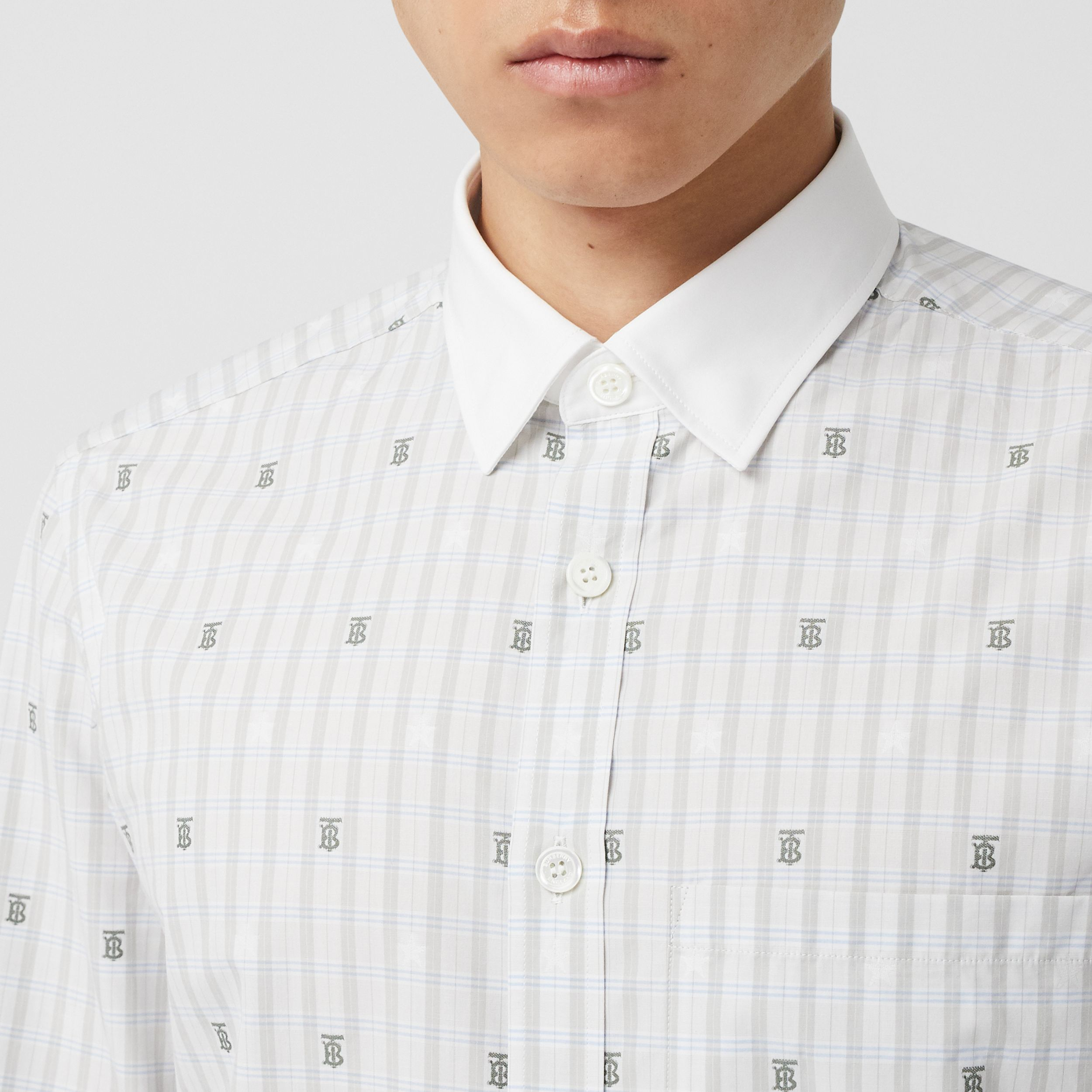 Slim Fit Star and Monogram Motif Check Cotton Shirt in Light Grey - Men | Burberry - 2