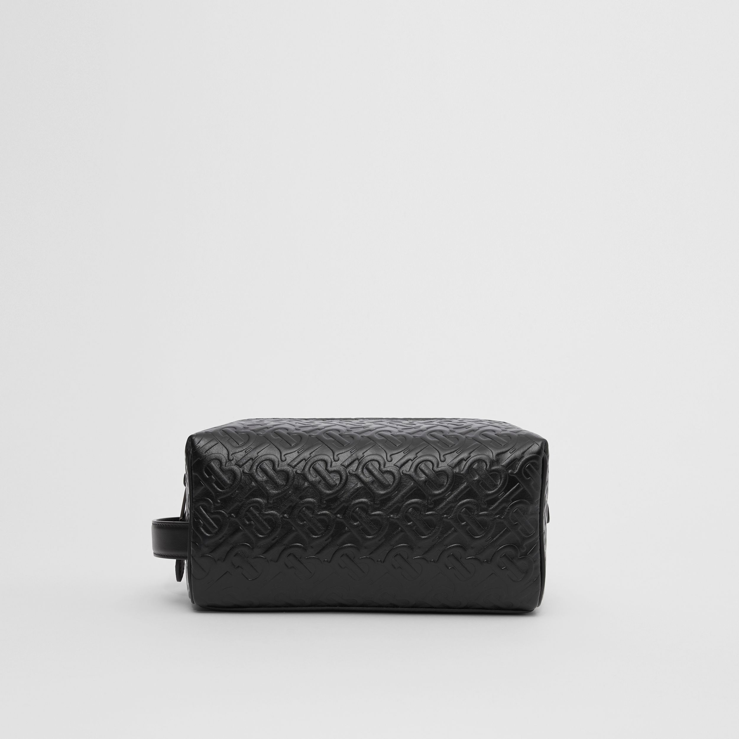 Monogram Leather Travel Pouch in Black - Men | Burberry - 1