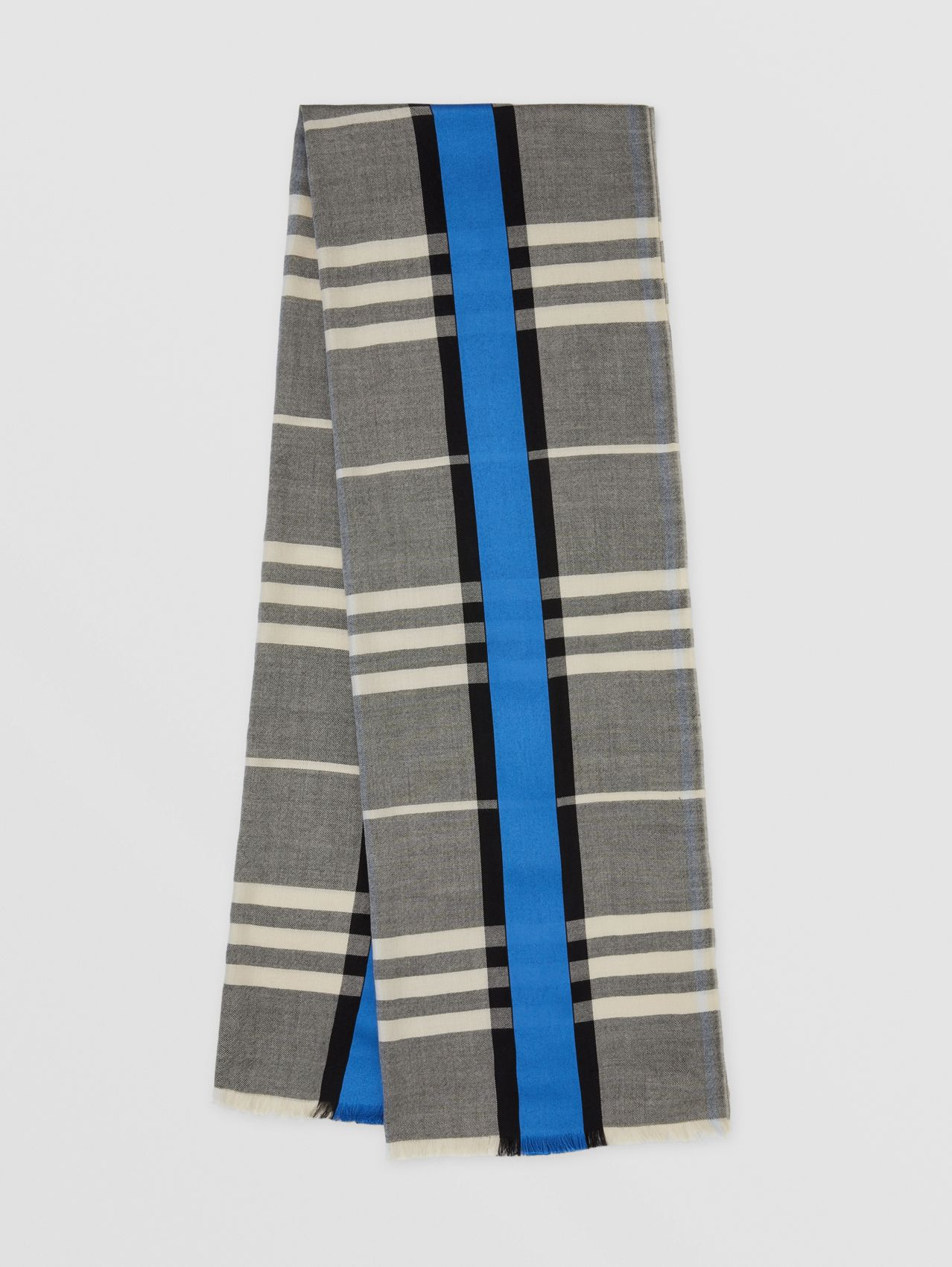Lightweight Check Cashmere and Silk Scarf in Light Sand