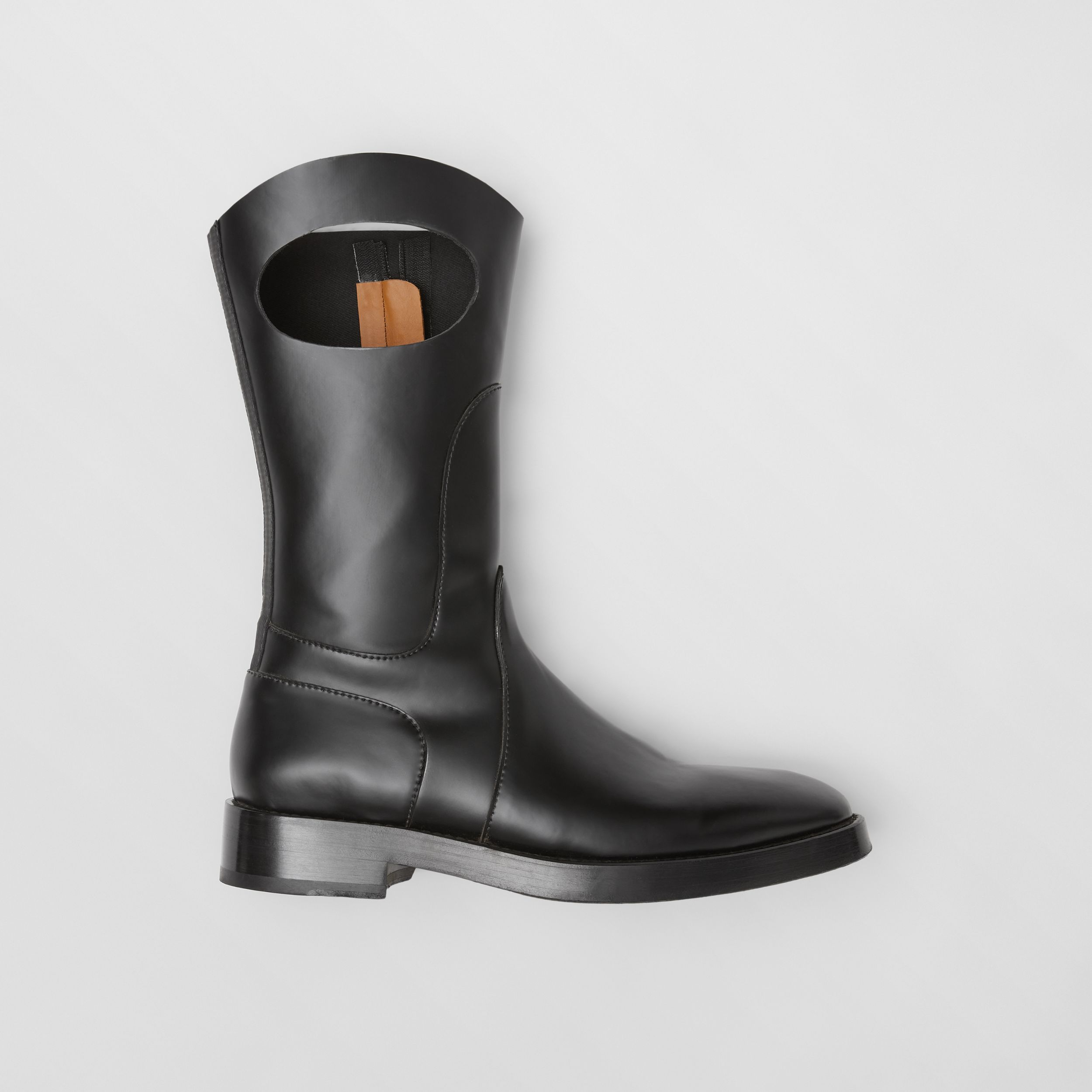 Porthole Detail Panelled Leather Boots in Black - Men | Burberry United Kingdom - 1
