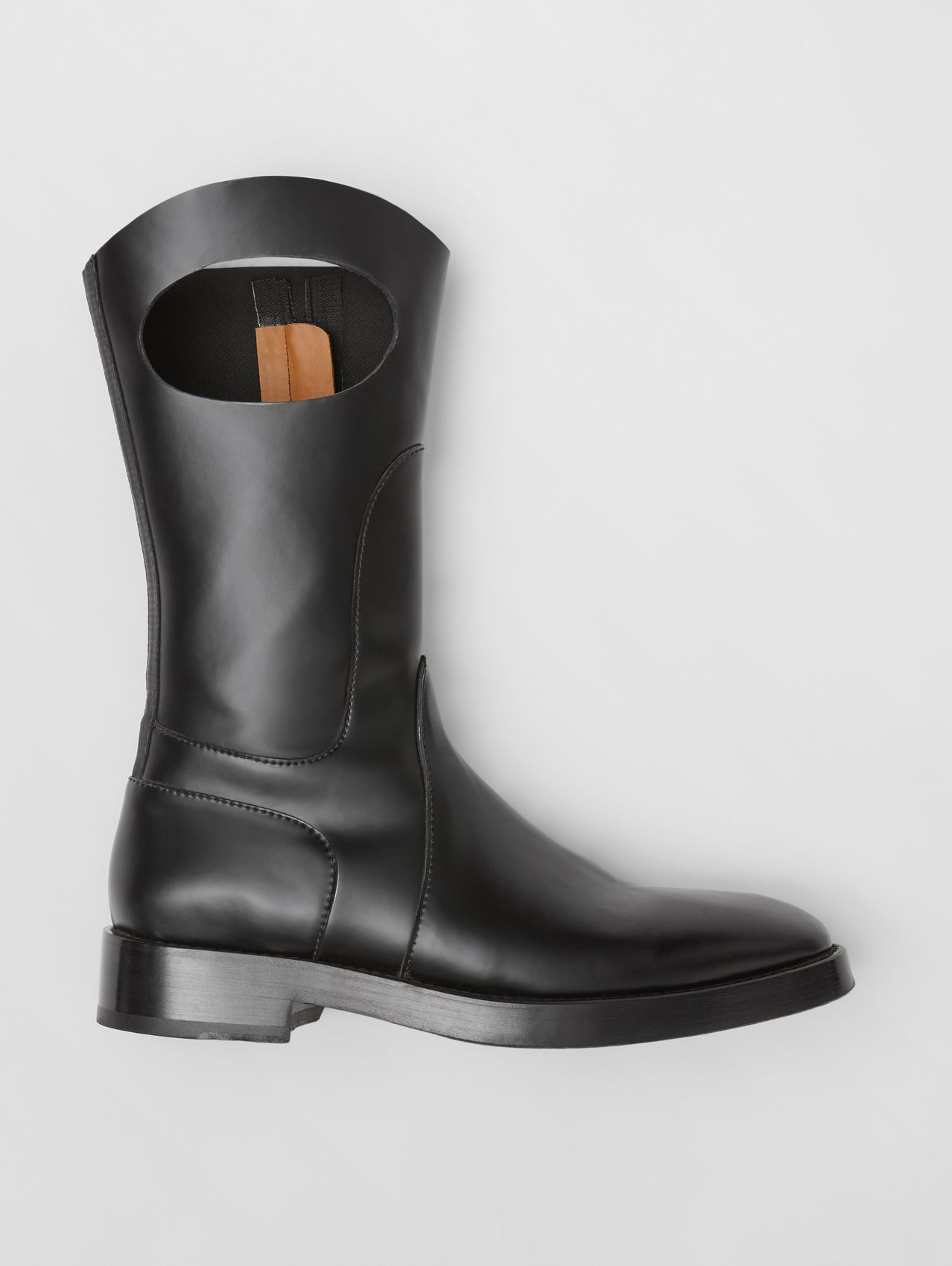 Porthole Detail Panelled Leather Boots in Black