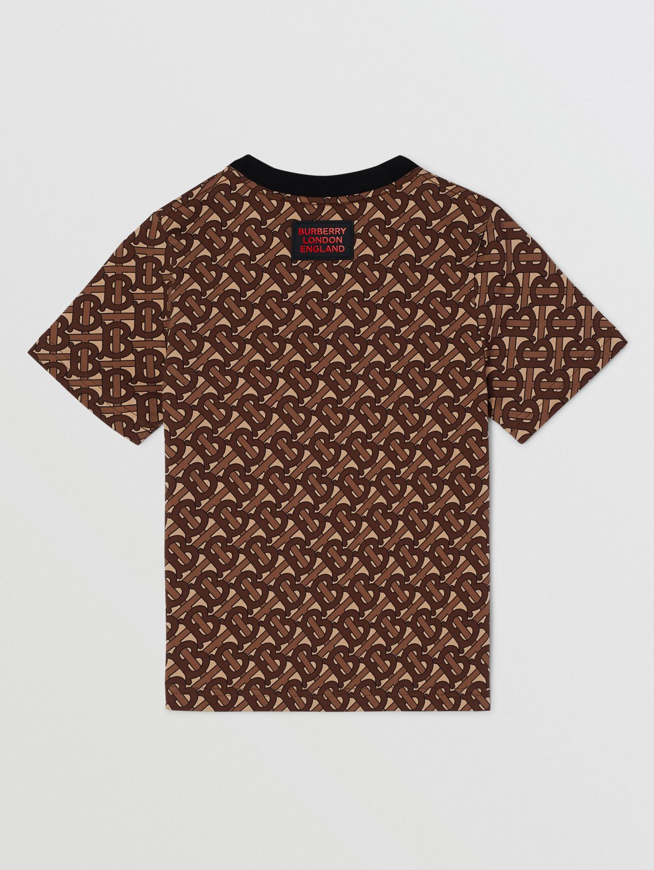 Monogram Stripe Print Cotton T-shirt (Bridle Brown)