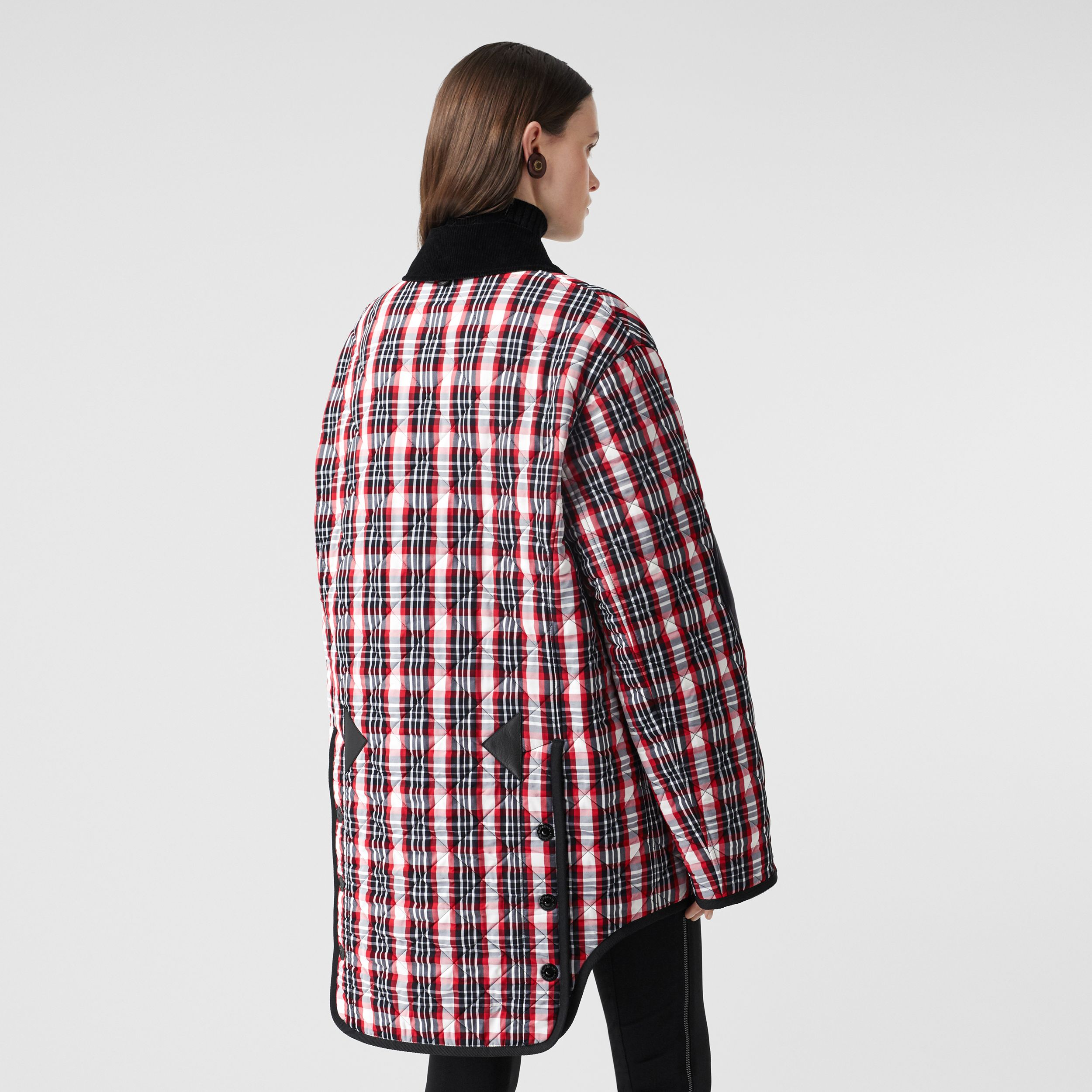 Diamond Quilted Tartan Oversized Barn Jacket in Bright Red - Women | Burberry - 3