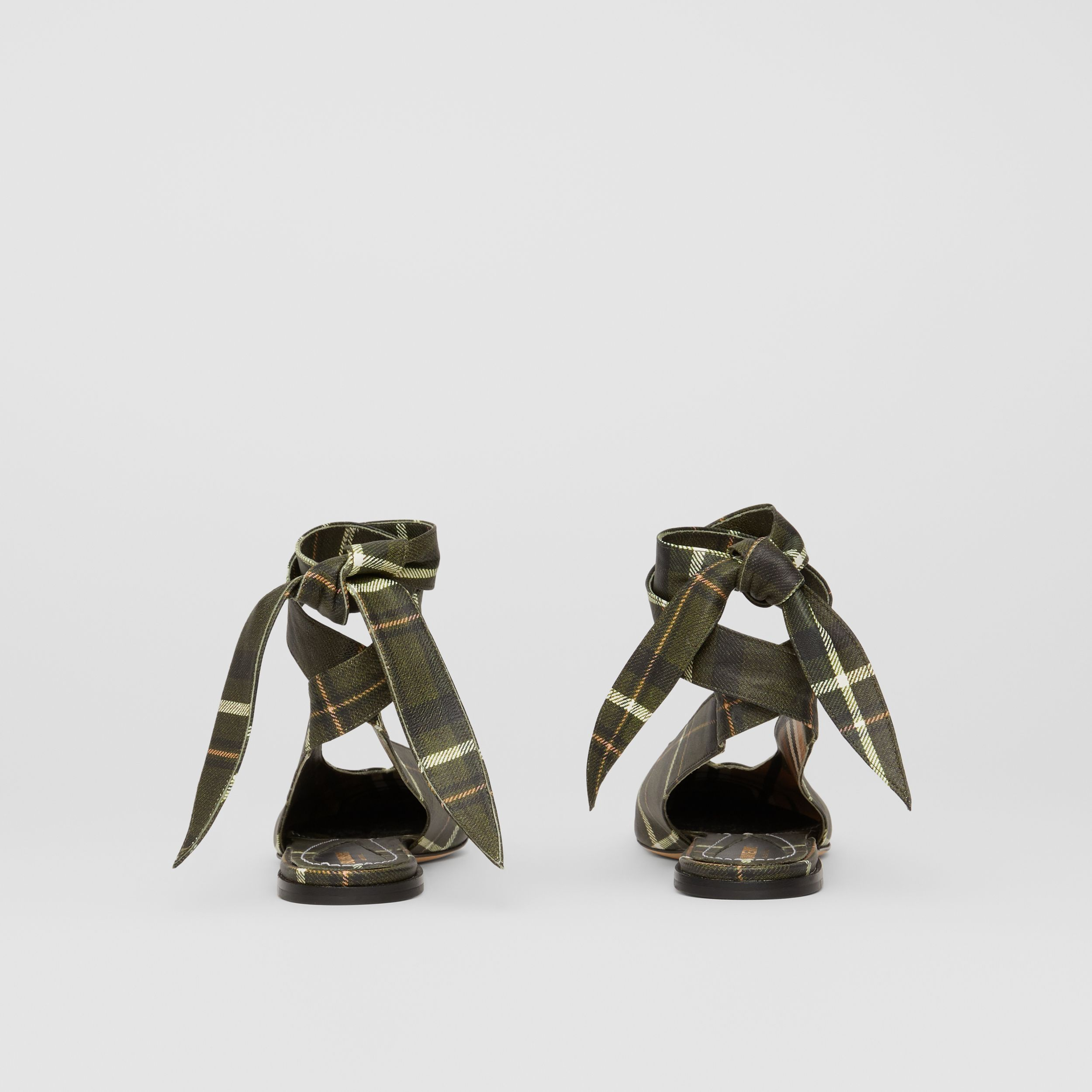 Tie Detail Tartan Print Leather Point-toe Mules in Dark Khaki Green - Women | Burberry Australia - 4