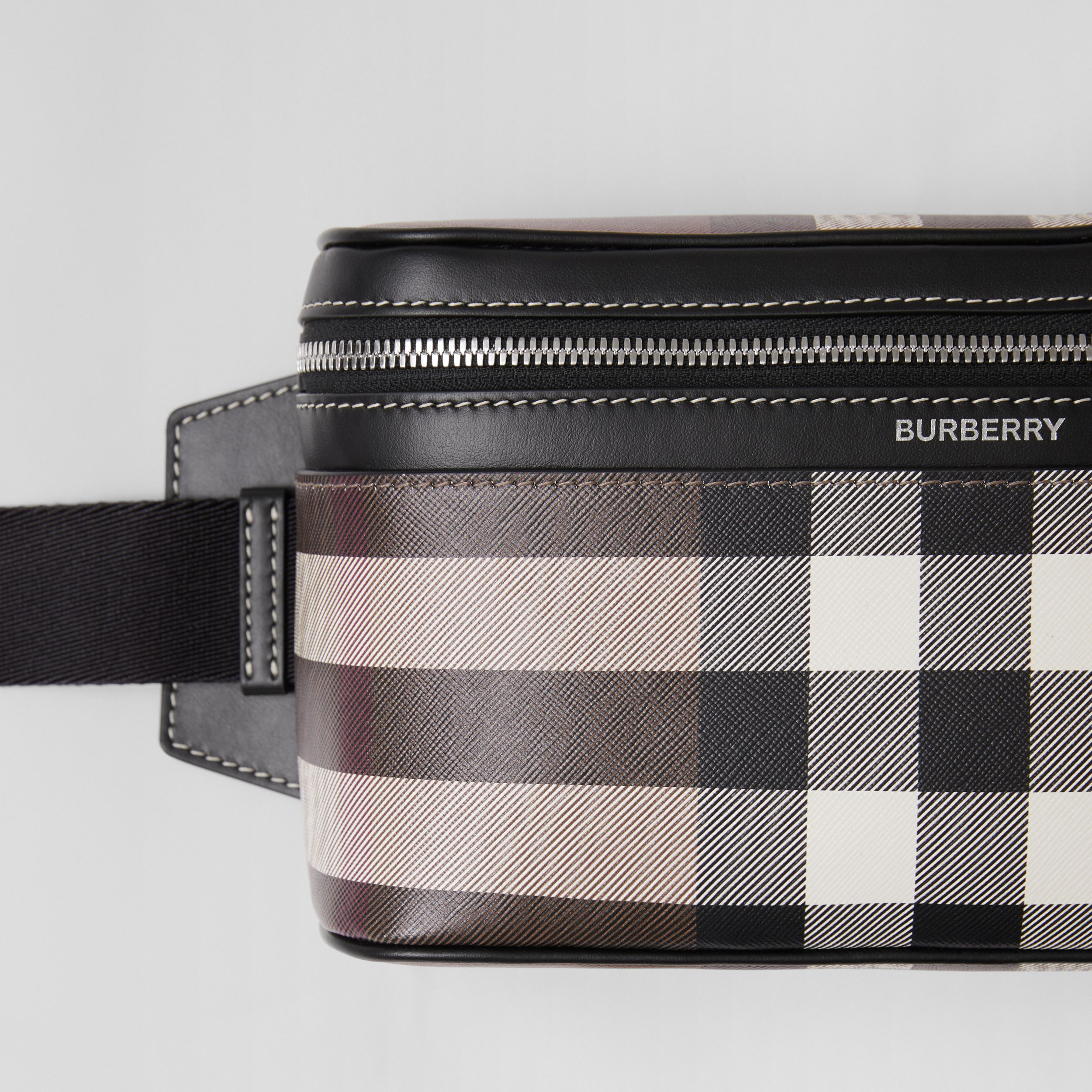 Check Print Leather Cube Bum Bag in Dark Birch Brown | Burberry United Kingdom - 2