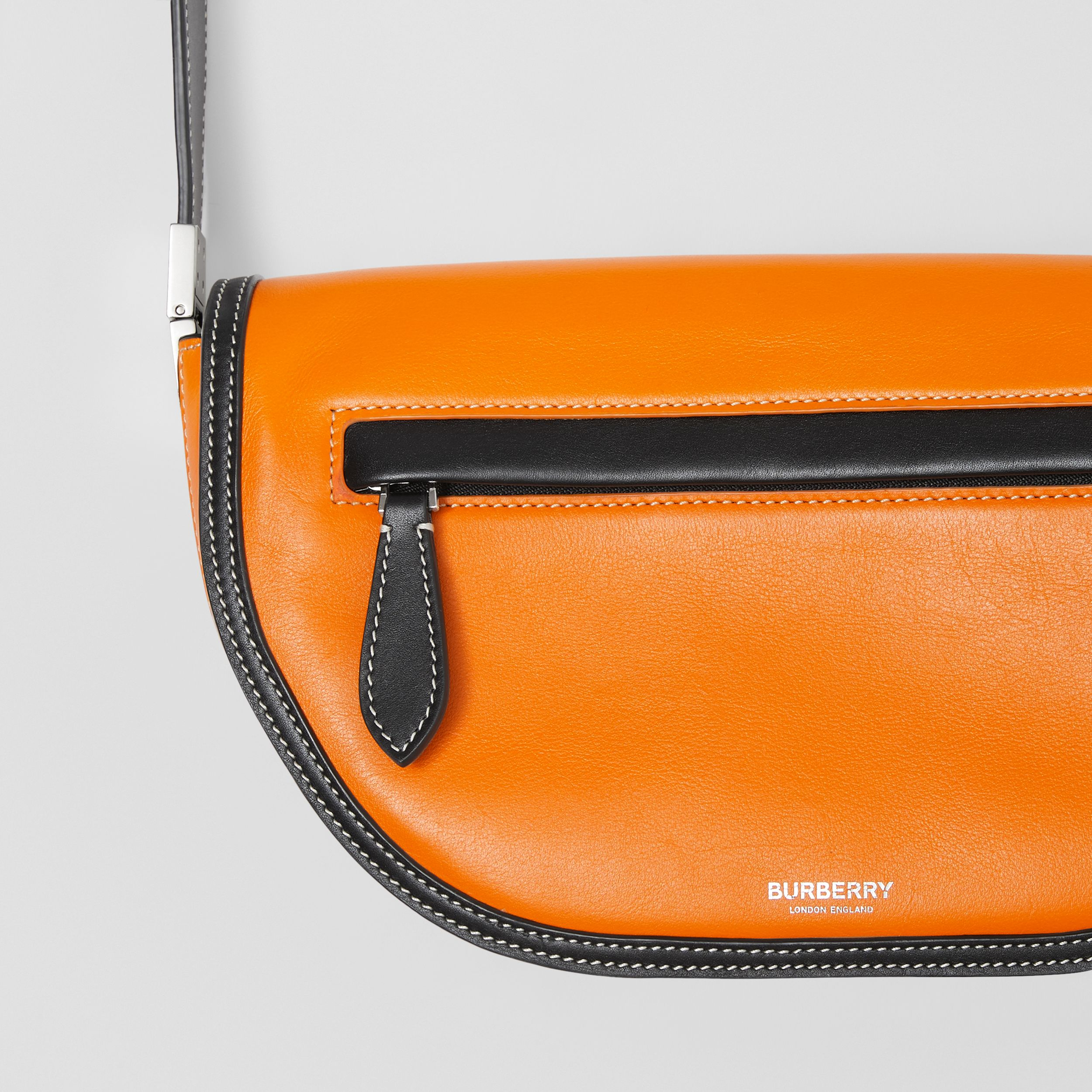 Small Two-tone Leather Olympia Bag in Deep Orange - Women | Burberry United Kingdom - 2