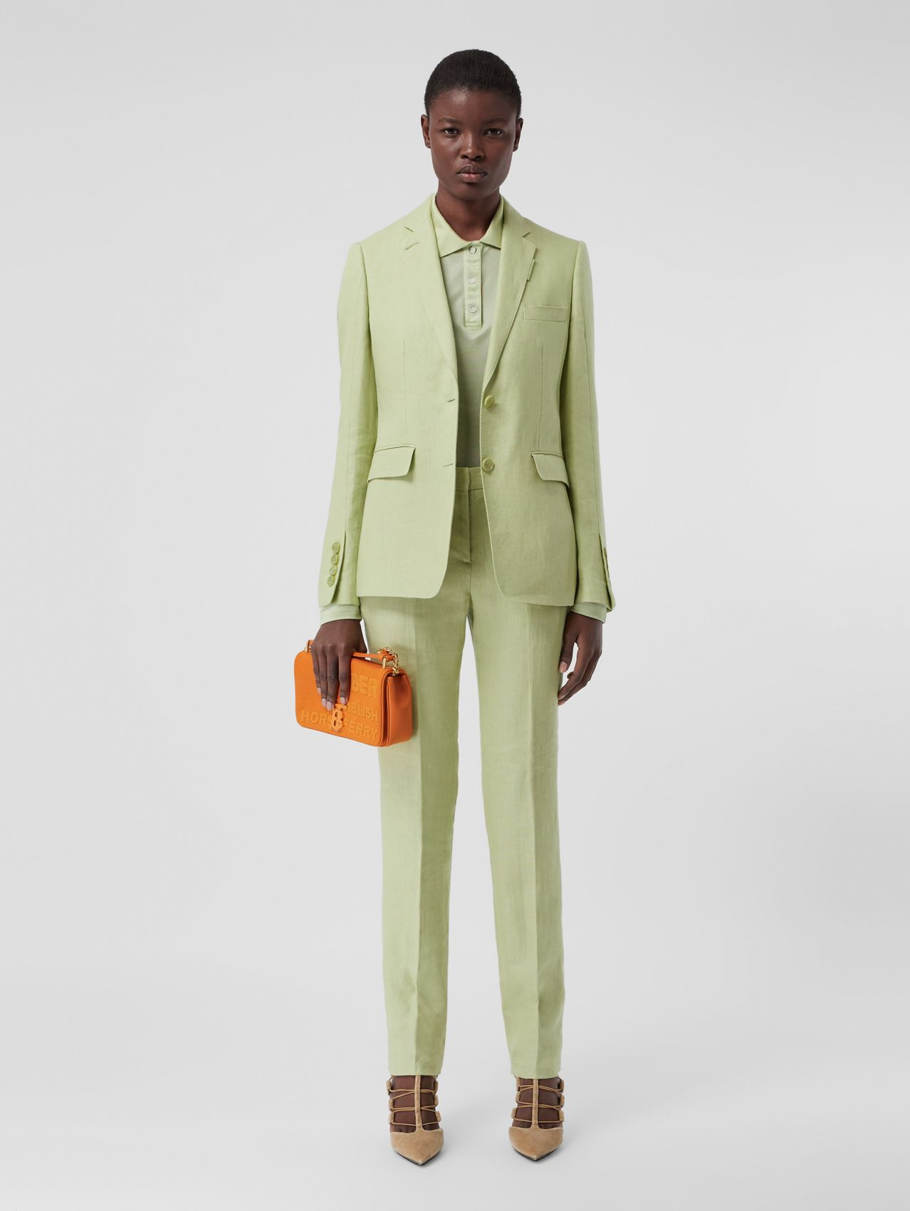 Linen Tailored Trousers in Mist Green