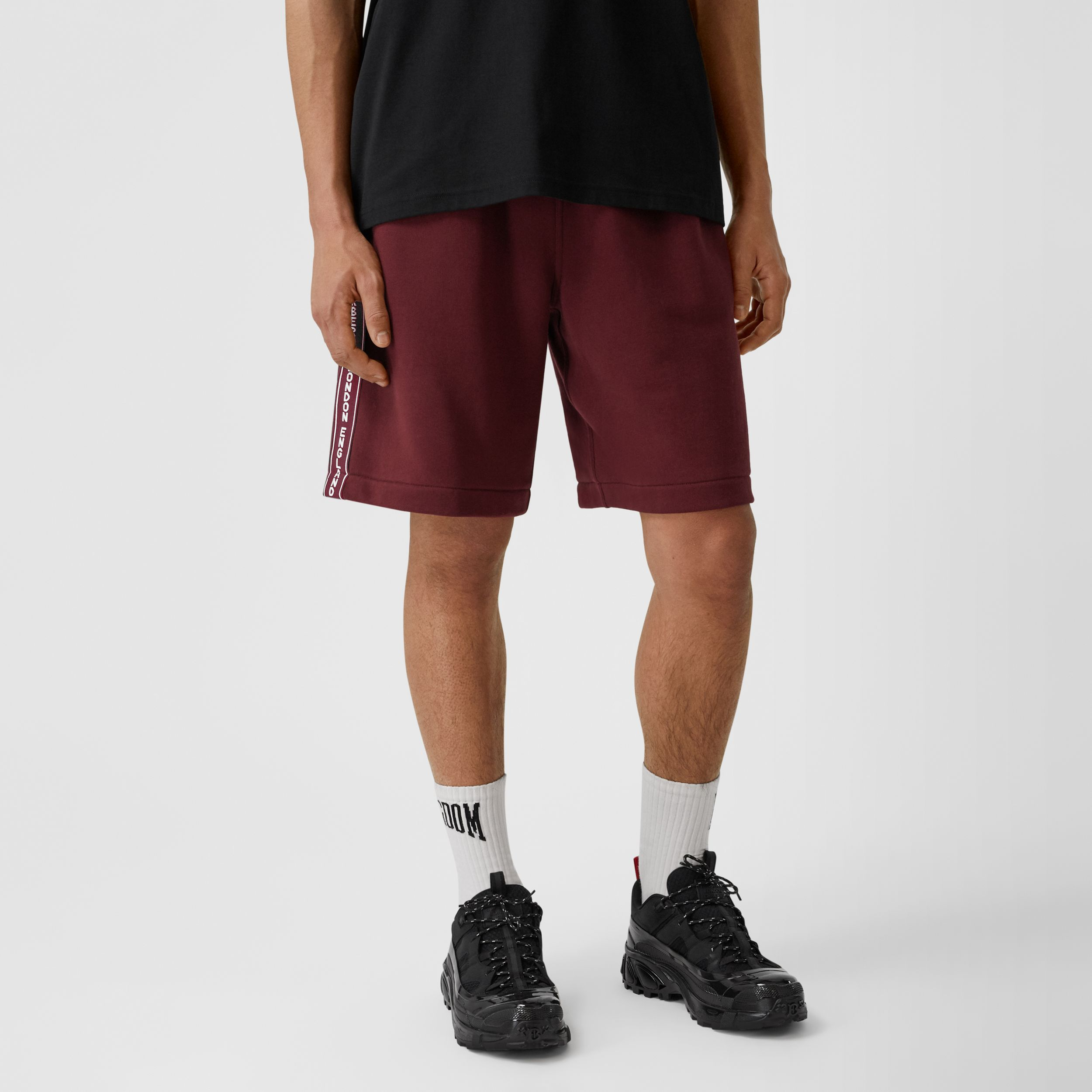 Logo Tape Cotton Drawcord Shorts in Deep Merlot - Men | Burberry Hong Kong S.A.R. - 4