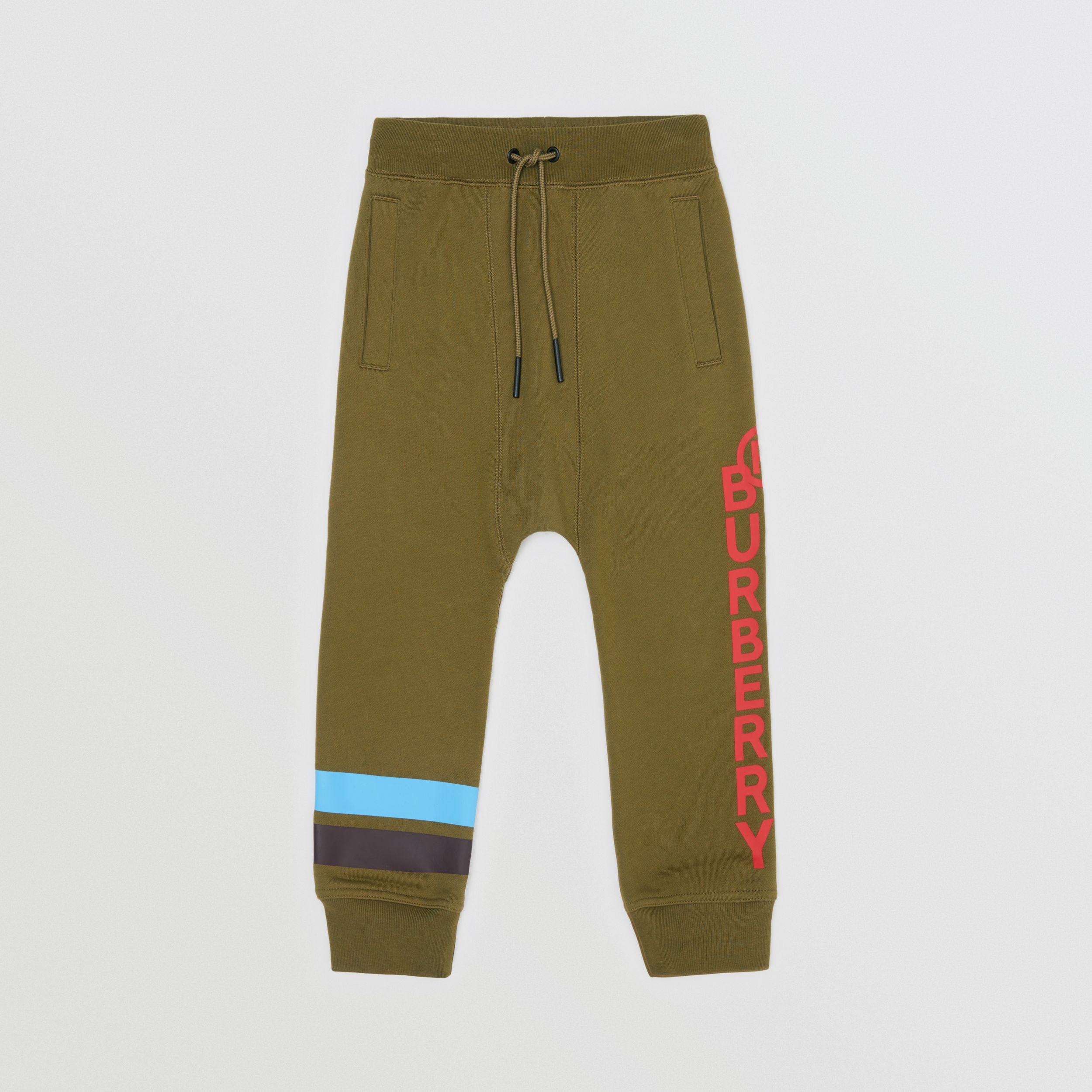 Logo and Stripe Print Cotton Jogging Pants in Khaki Green Melange | Burberry - 1