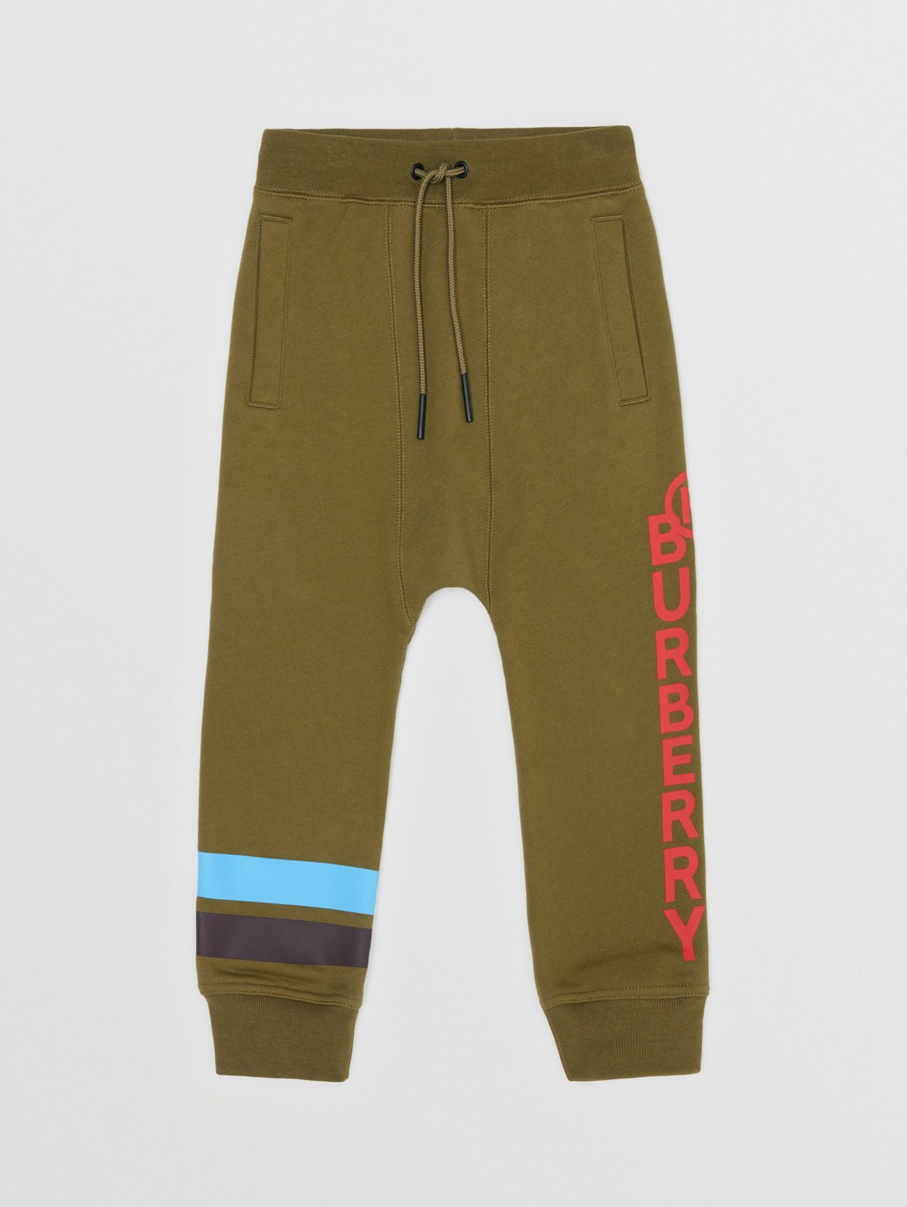 Logo and Stripe Print Cotton Jogging Pants in Khaki Green Melange