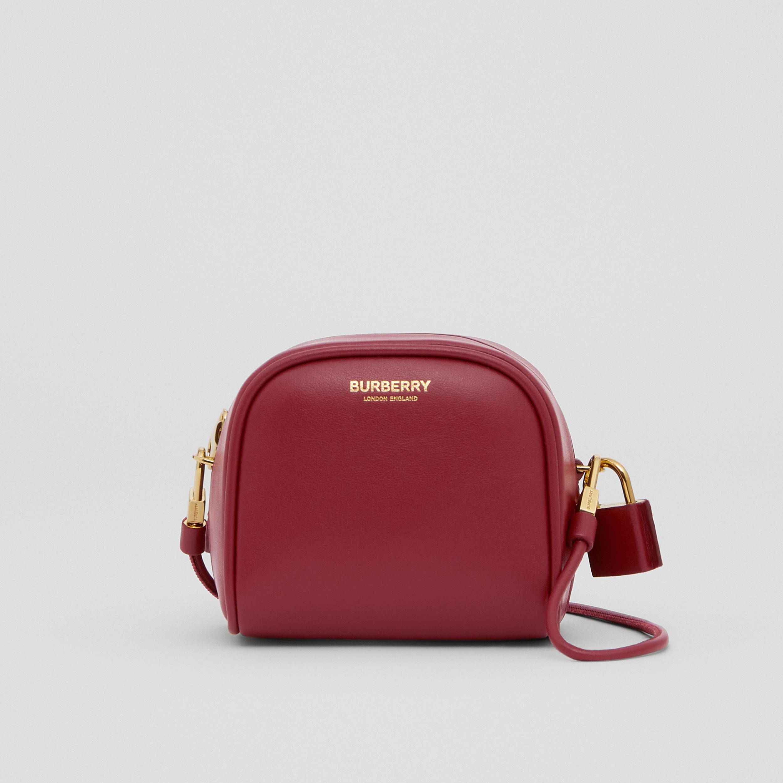 Micro Leather Cube Bag in Dark Crimson | Burberry Australia - 1