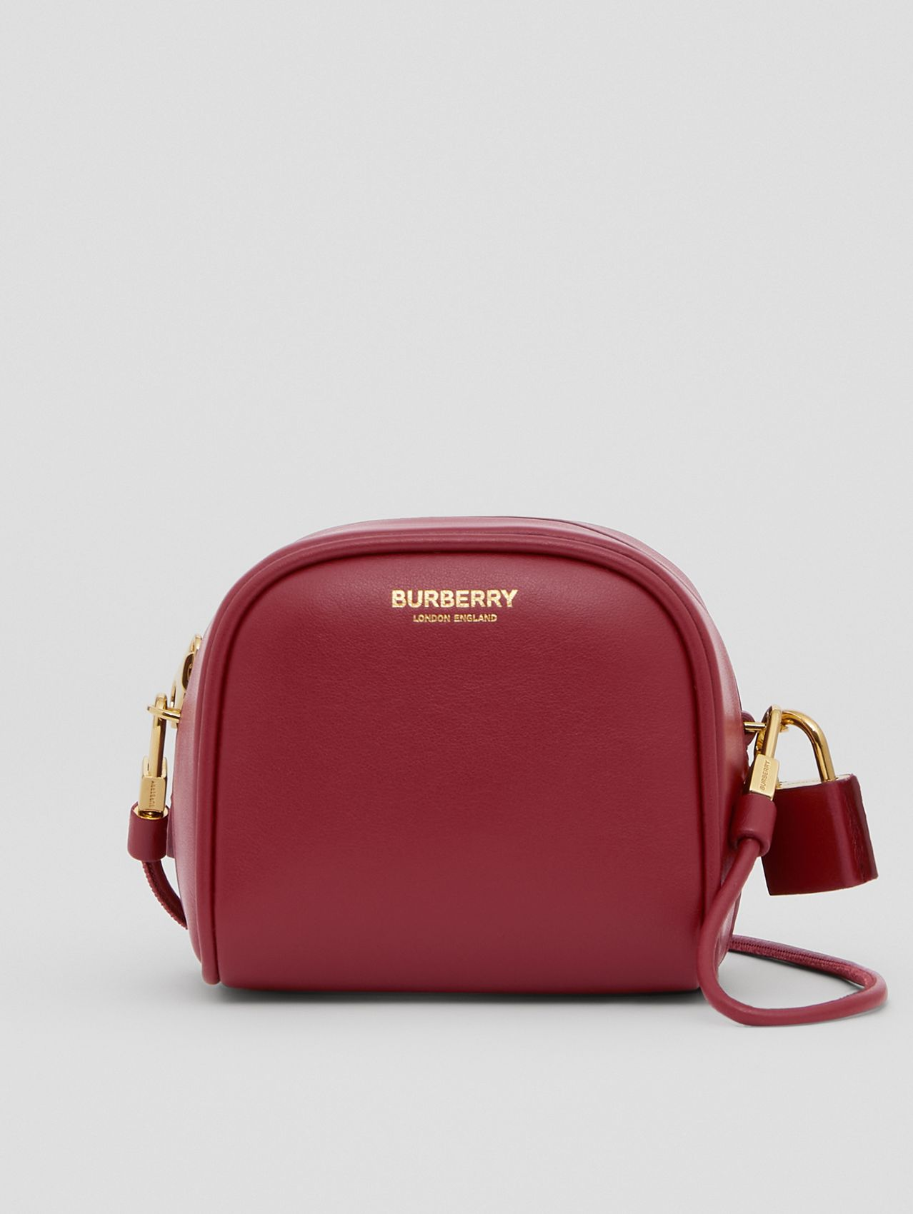 Micro Leather Cube Bag in Dark Crimson