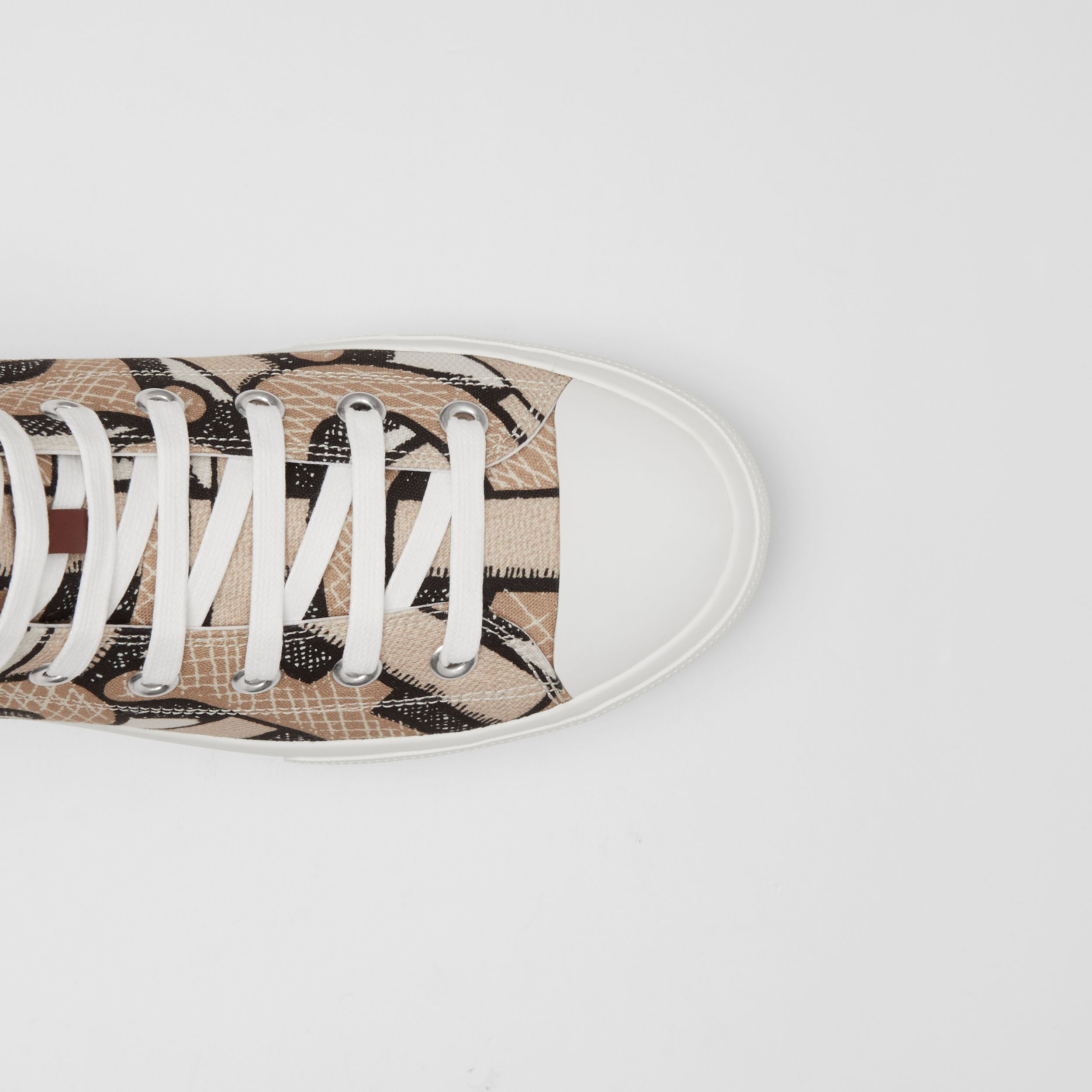 Monogram Print Cotton Canvas High-top Sneakers in Dark Beige - Men | Burberry Canada - 2