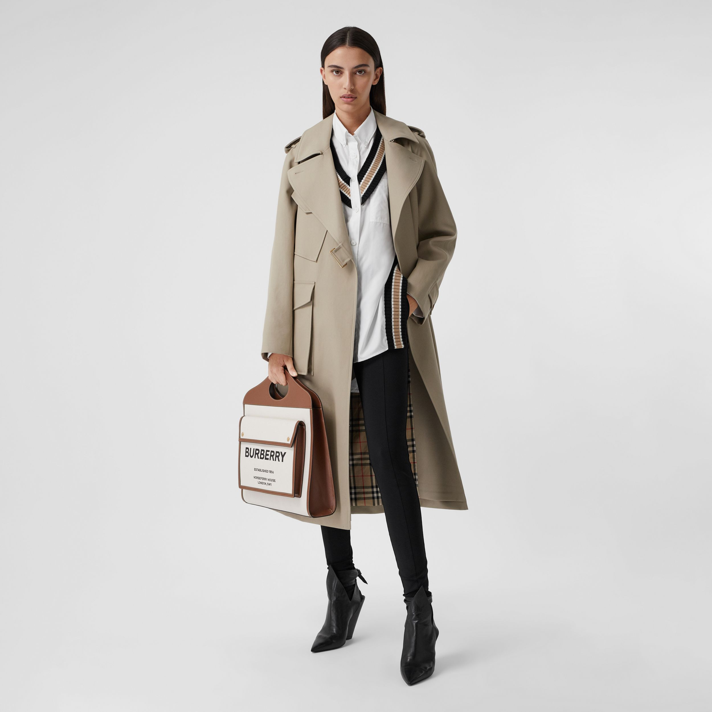 Cotton Gabardine Tielocken Coat in Stone - Women | Burberry - 1