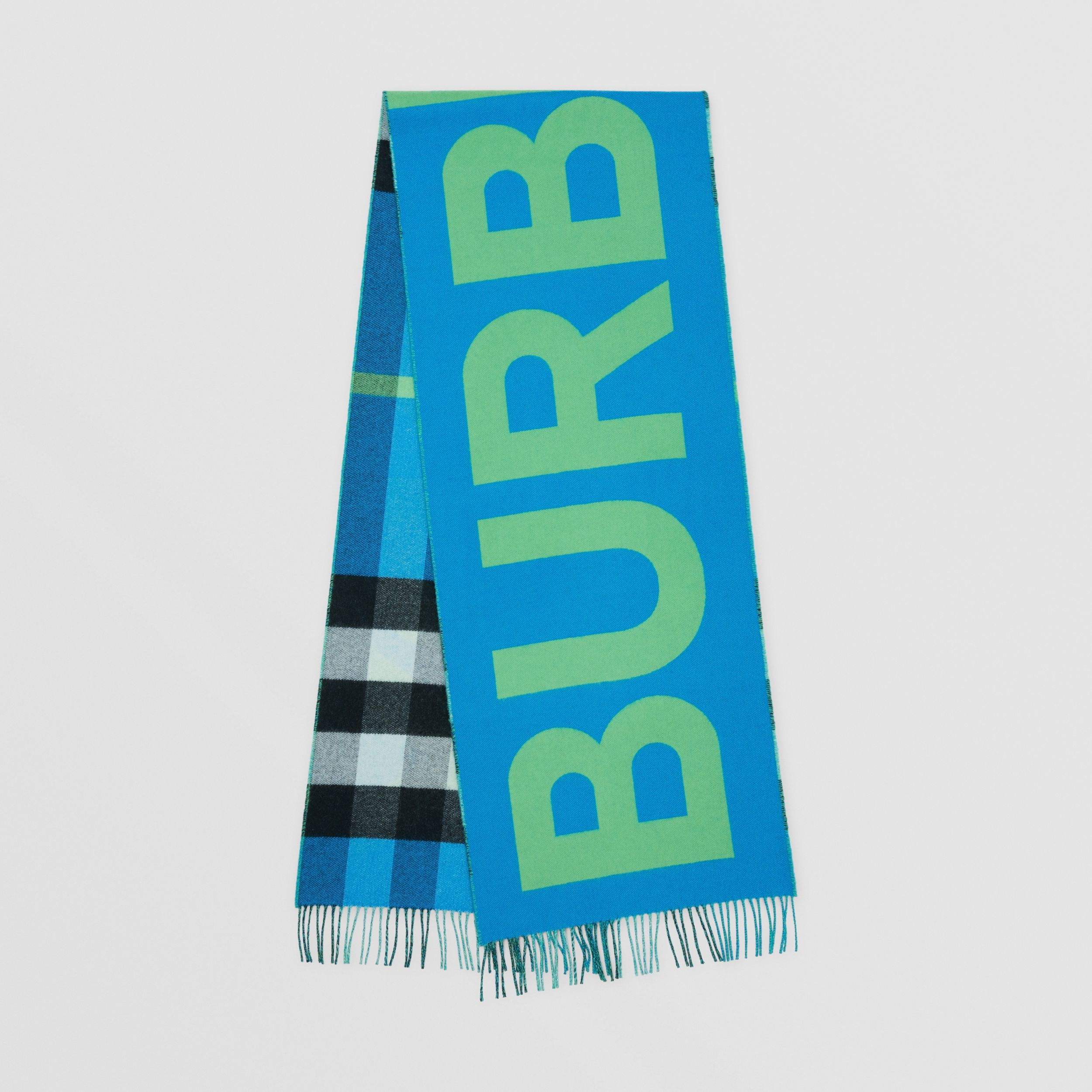 Reversible Check and Logo Cashmere Scarf in Azure Blue | Burberry United Kingdom - 1
