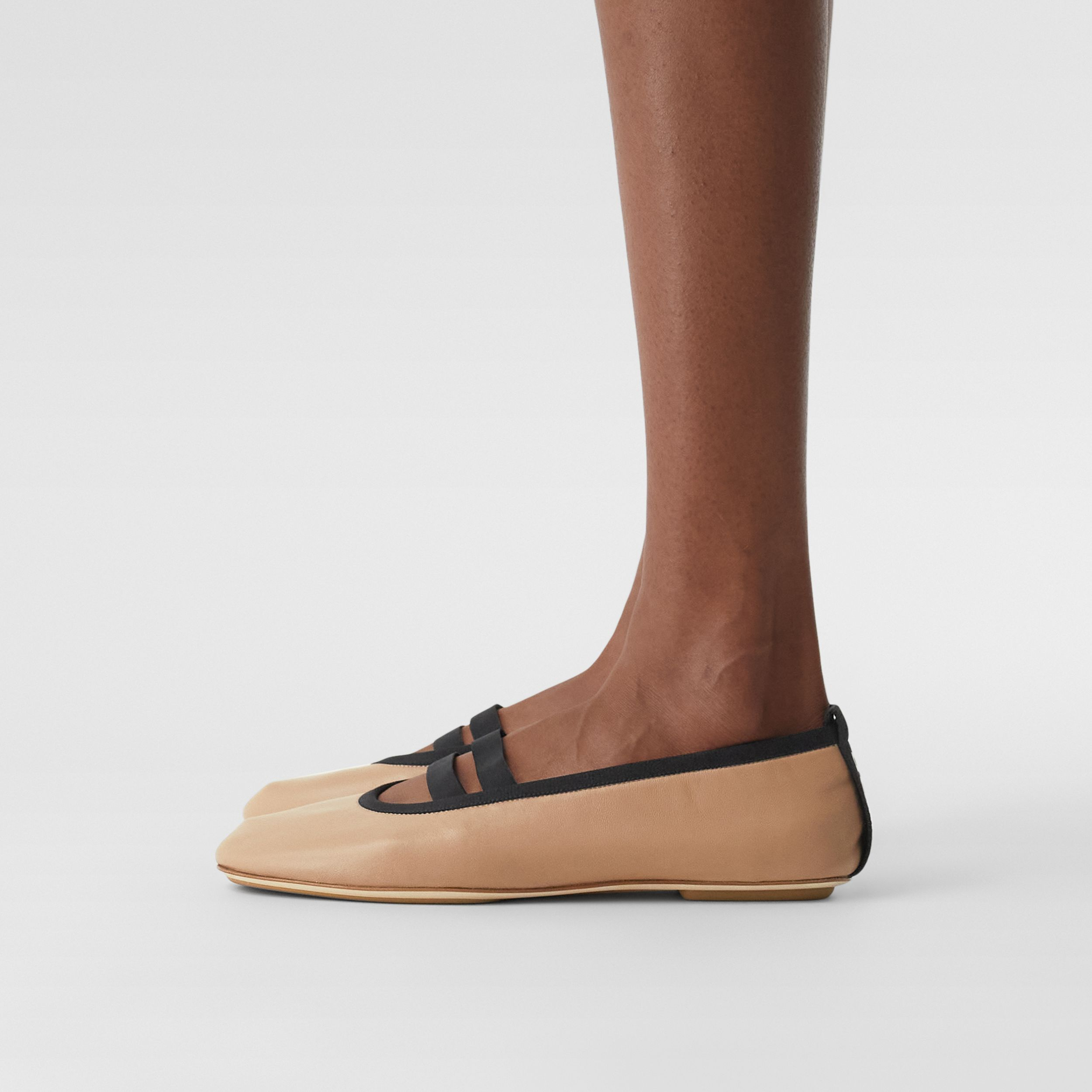 Logo Detail Lambskin Ballerinas in Camel - Women | Burberry - 3