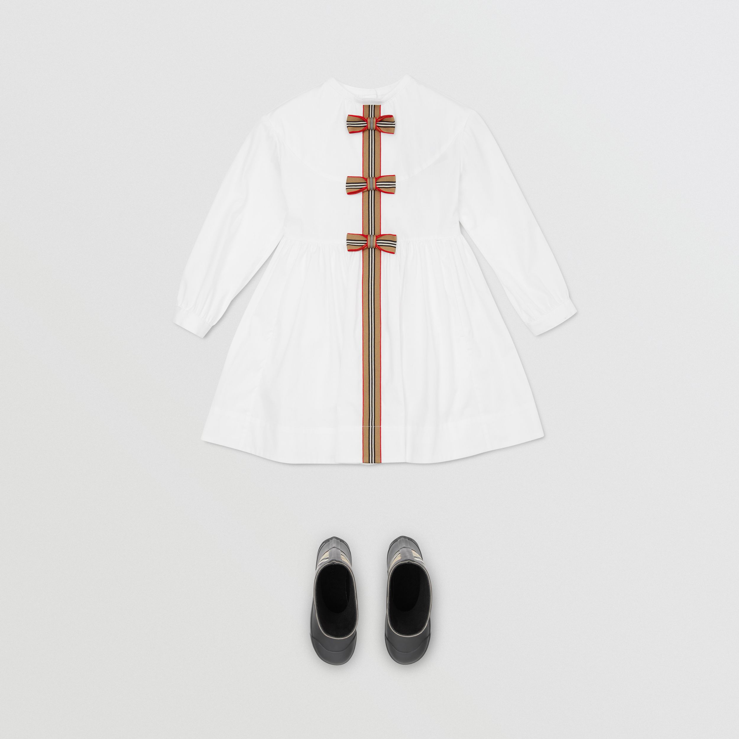 Icon Stripe Trim Stretch Cotton Poplin Dress in White | Burberry - 3