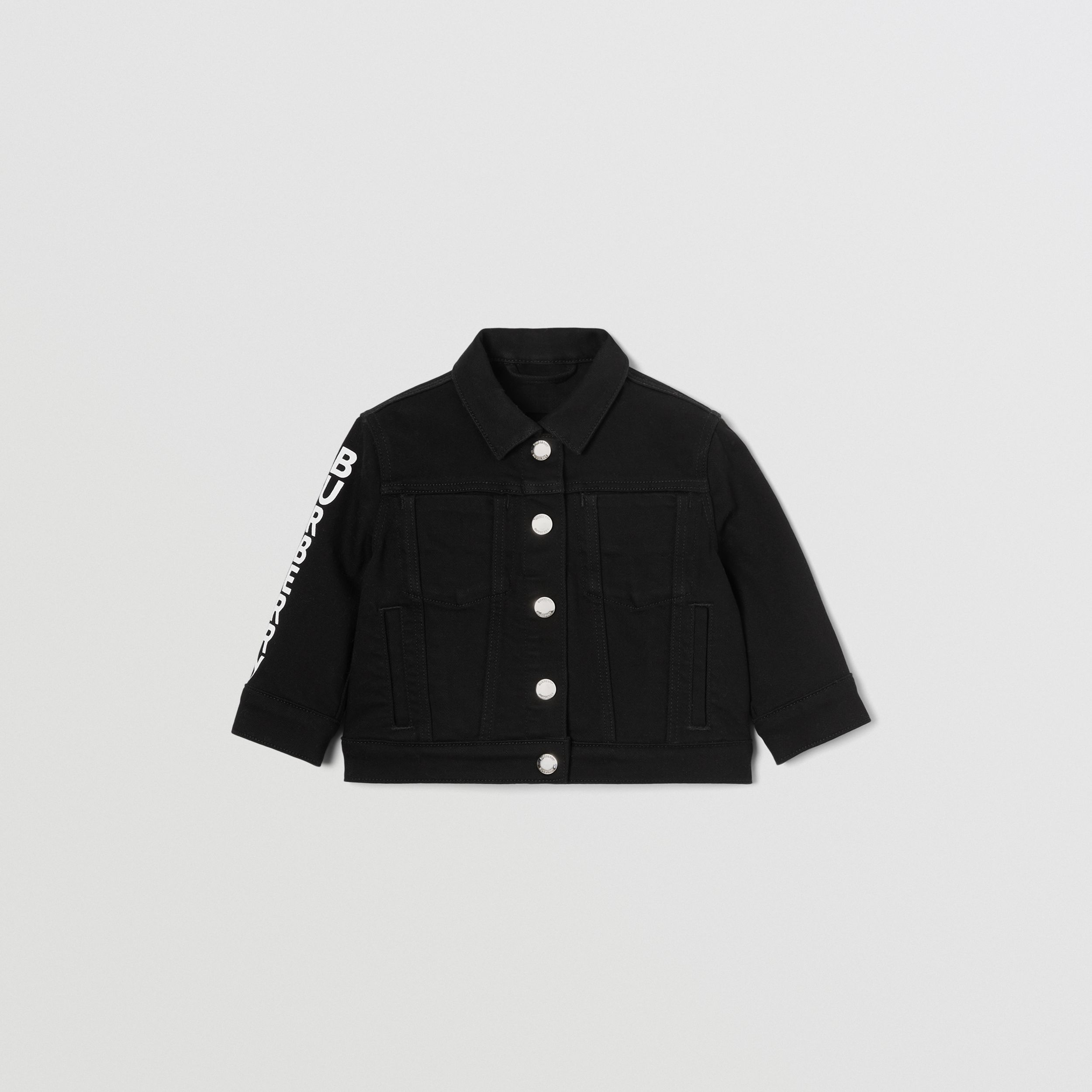 Logo Print Japanese Denim Jacket in Black - Children | Burberry - 1
