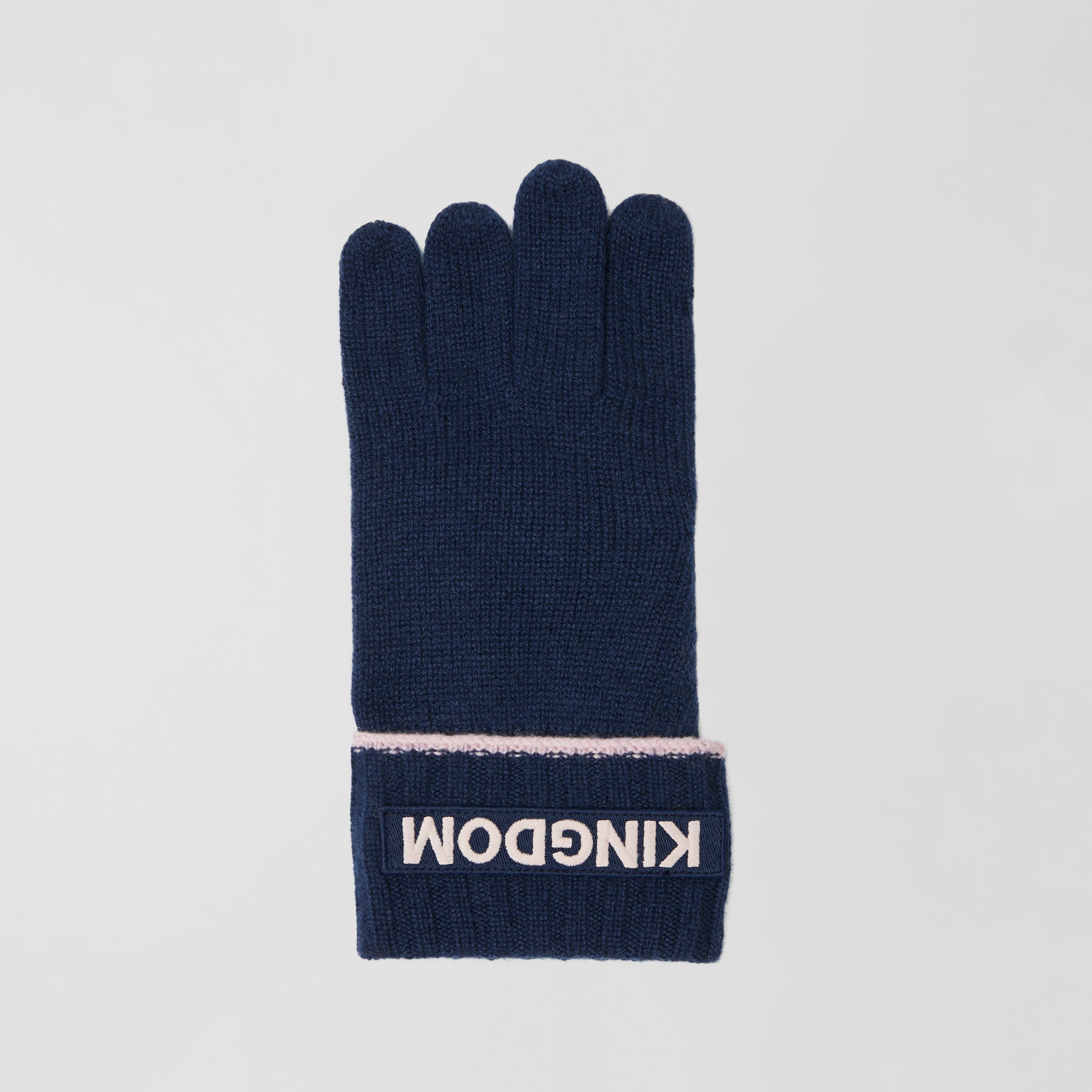 Kingdom and Logo Appliqué Cashmere Gloves in Navy | Burberry - 3