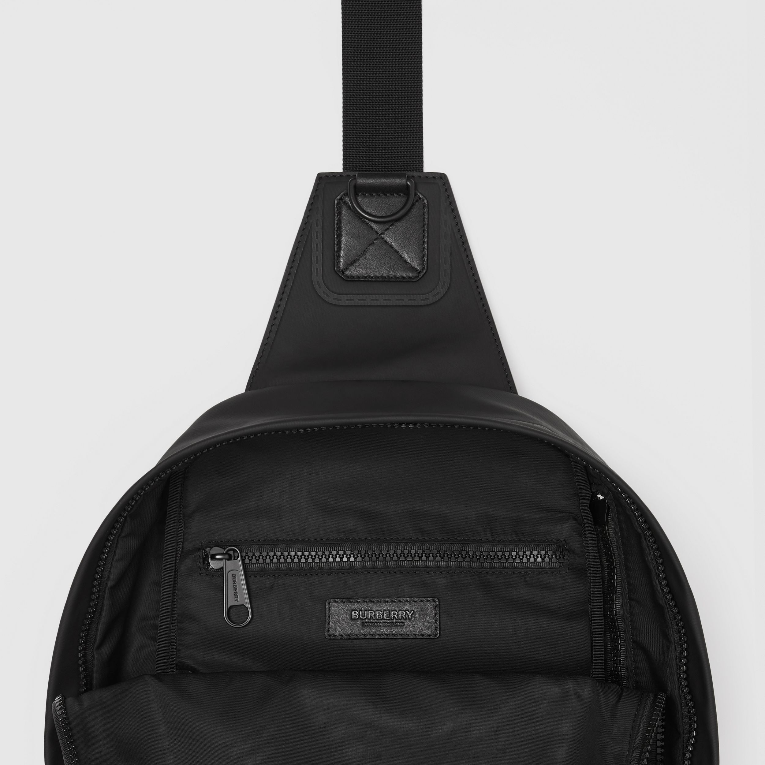 Horseferry Print Coated Canvas Backpack in Black - Men | Burberry - 3