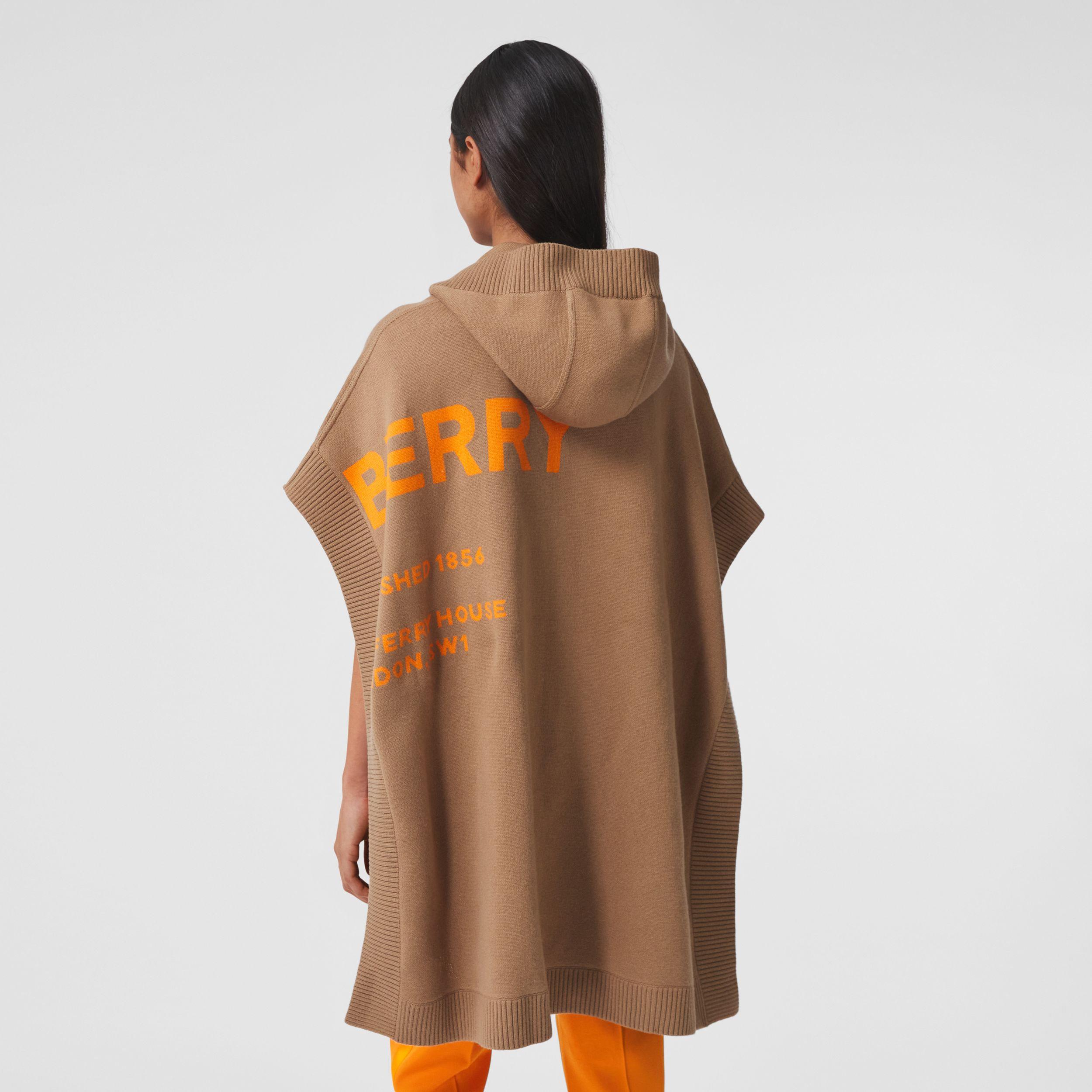 Horseferry Cashmere Blend Jacquard Hooded Cape in Camel - Women | Burberry - 3