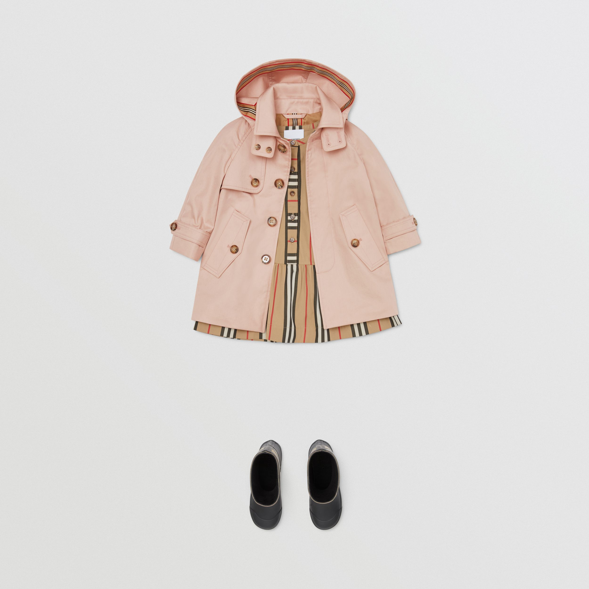 Detachable Hood Cotton Twill Car Coat in Ice Pink - Children | Burberry - 3