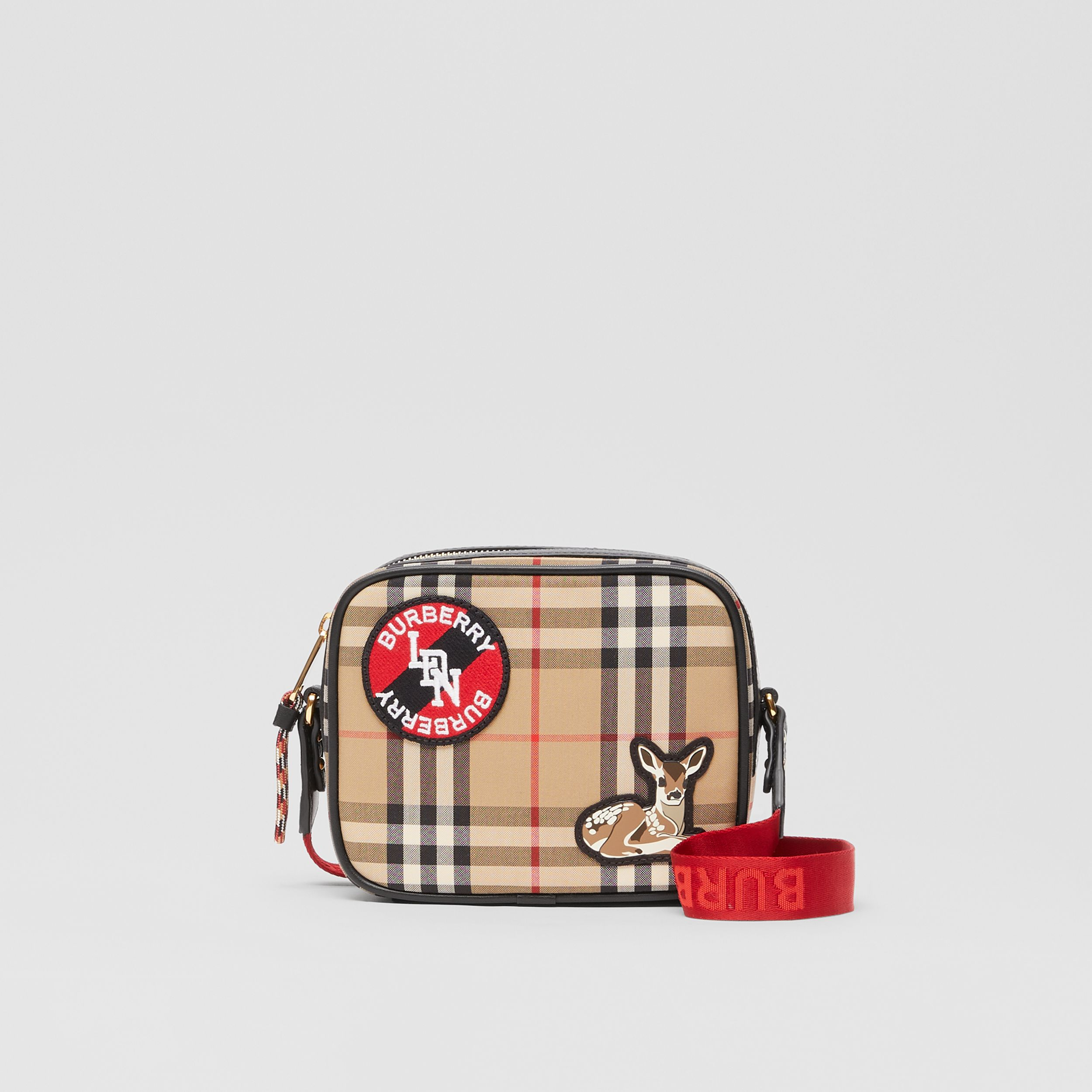 Logo Graphic Vintage Check Camera Bag in Archive Beige - Children | Burberry - 1