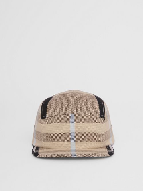 Burberry Check Cotton Canvas Jacquard Cap In Dusty Sand