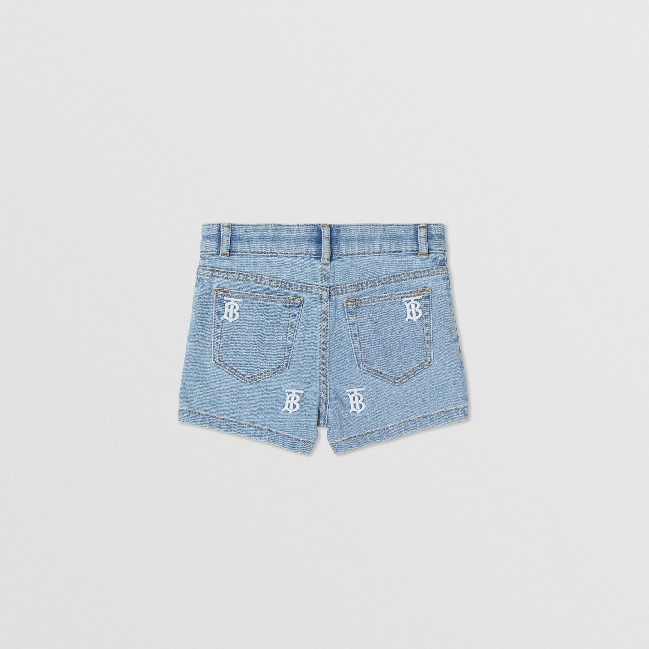 Monogram Motif Stretch Denim Shorts in Pale Blue | Burberry - 4