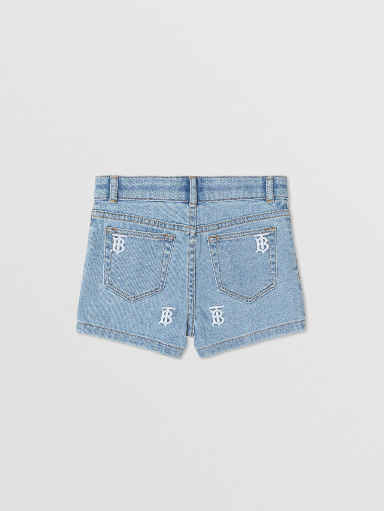Monogram Motif Stretch Denim Shorts in Pale Blue