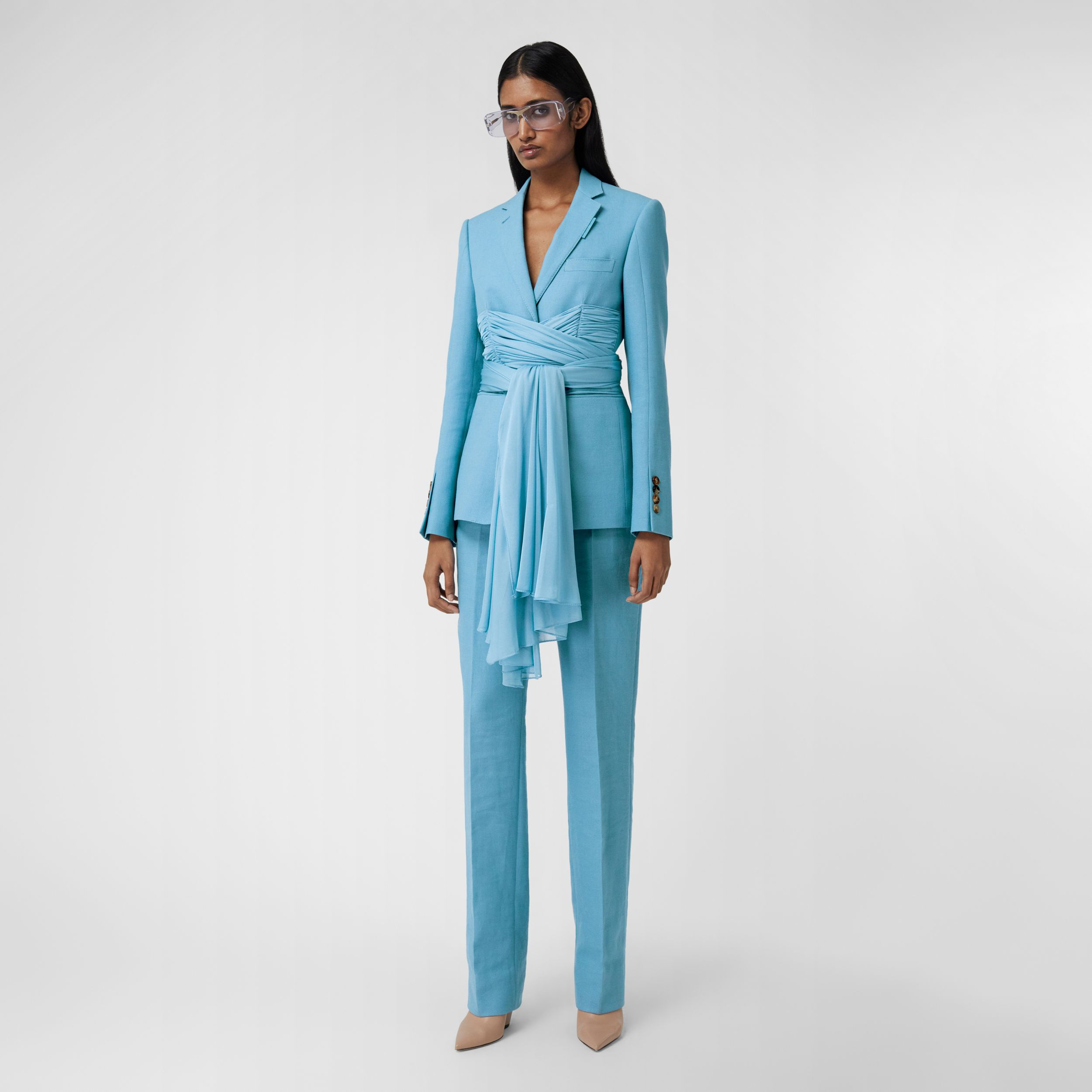 Jersey Sash Detail Wool Ramie Tailored Jacket in Blue Topaz - Women | Burberry - 1
