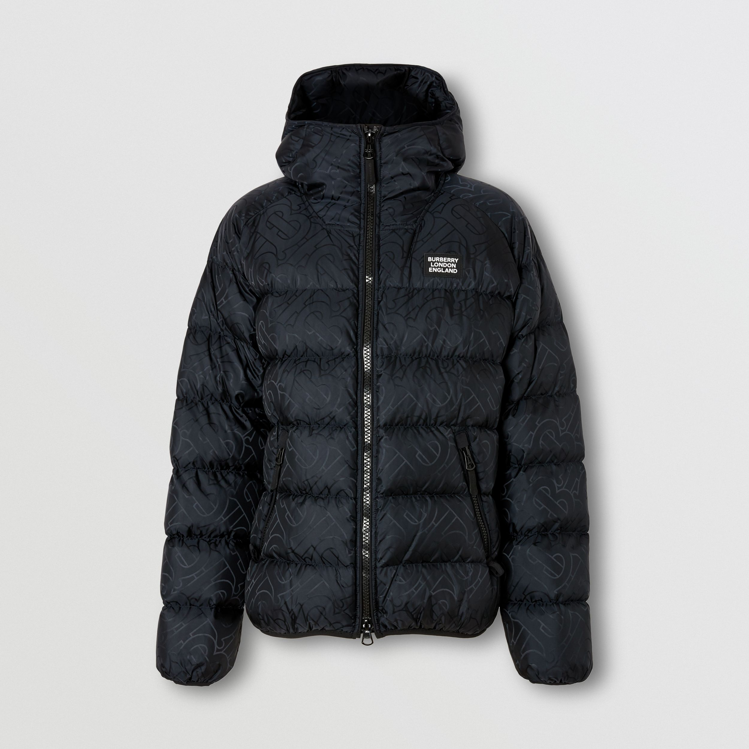 Monogram Jacquard Hooded Puffer Jacket in Black - Men | Burberry - 4
