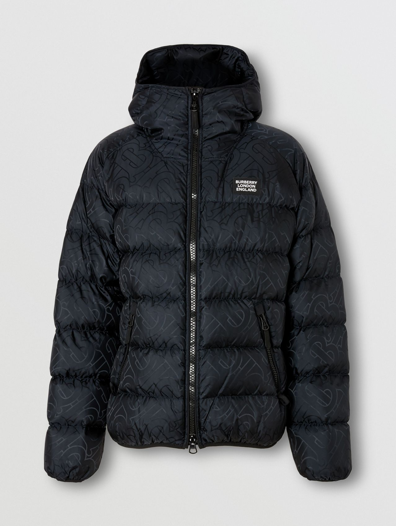 Monogram Jacquard Hooded Puffer Jacket in Black