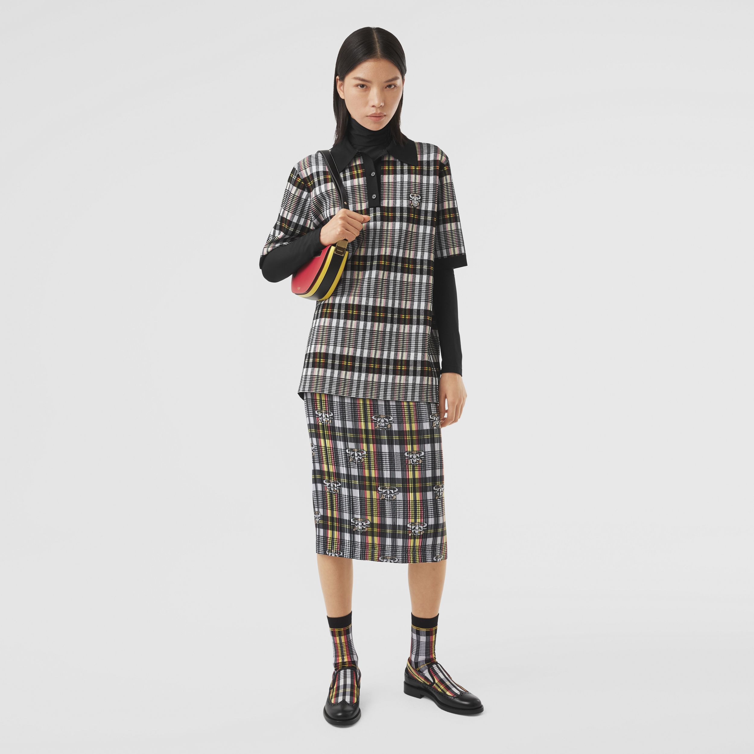 Monogram Motif Check Oversized Polo Shirt in Marigold Yellow - Women | Burberry - 1