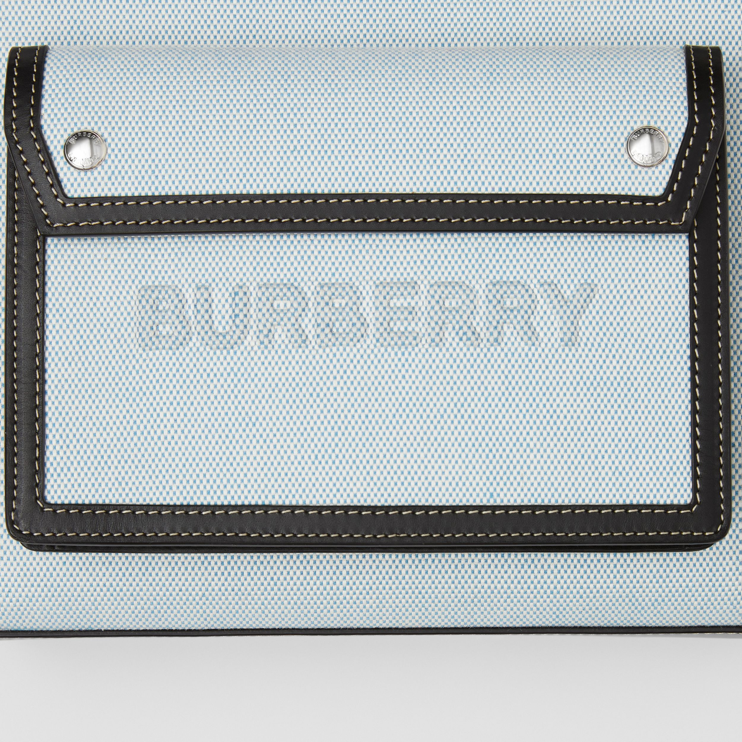 Mini Two-tone Canvas and Leather Pocket Bag in Vivid Cobalt - Women | Burberry United States - 2