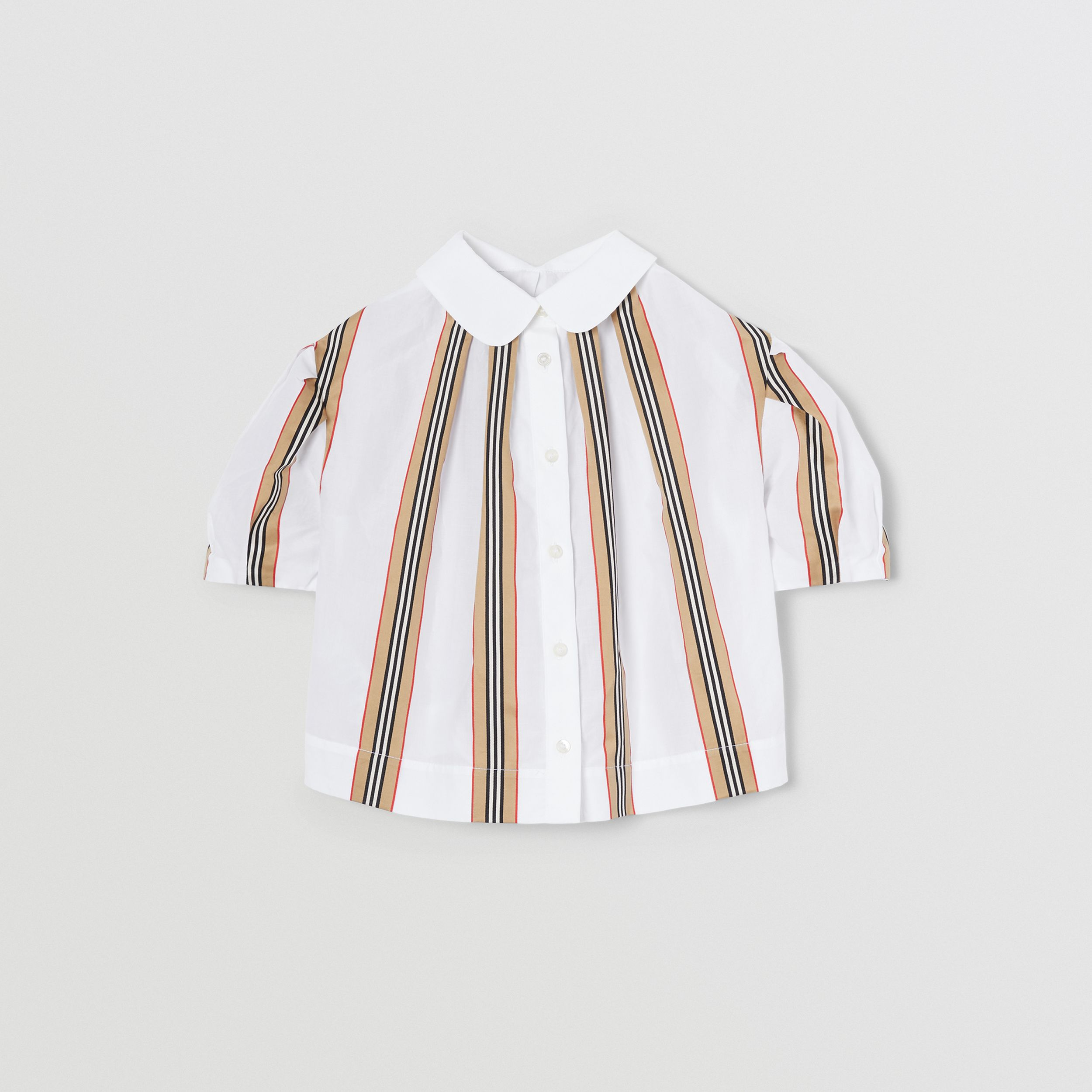 Peter Pan Collar Icon Stripe Cotton Blouse in White | Burberry United Kingdom - 4