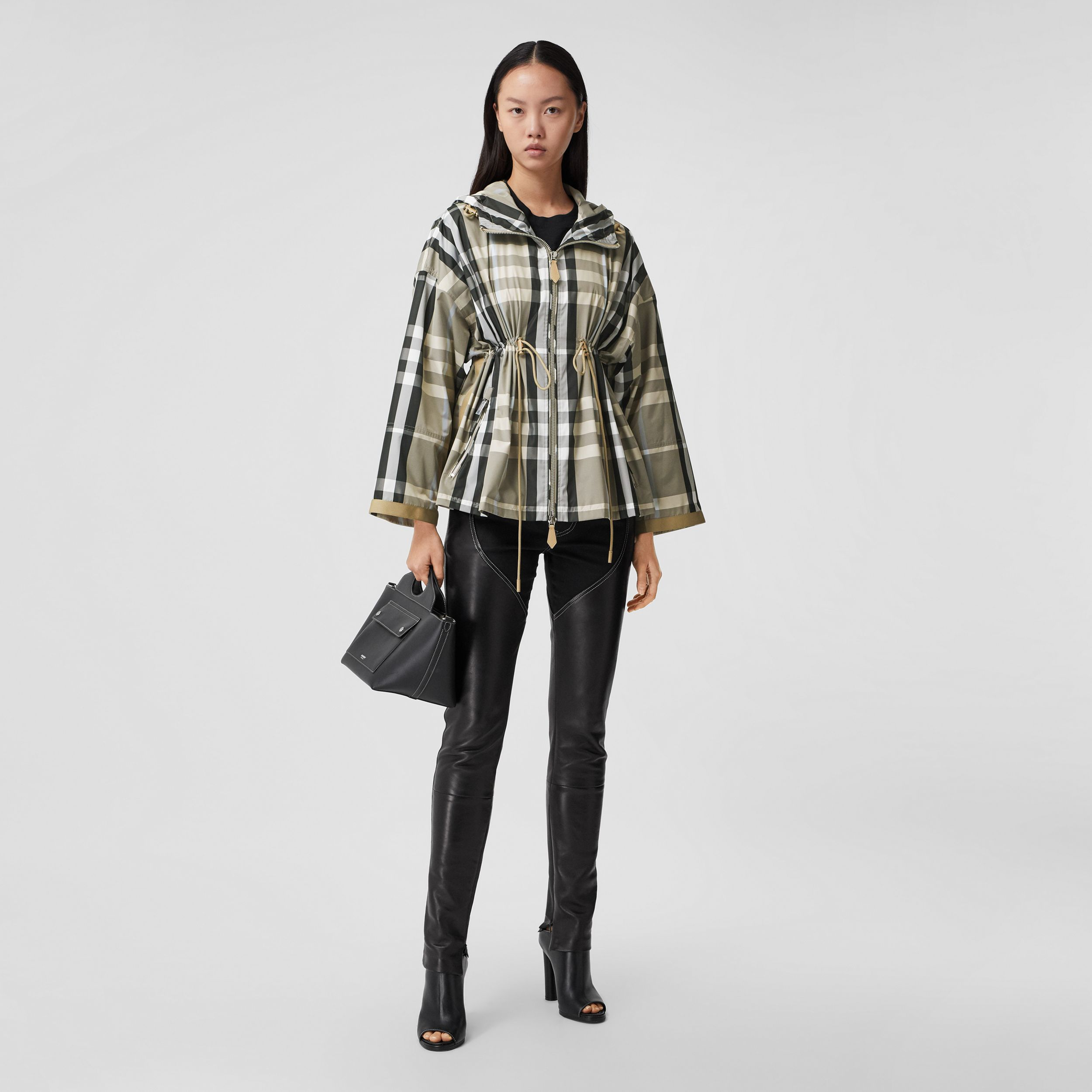 Check Lightweight Hooded Jacket in Dusty Sand - Women | Burberry - 1