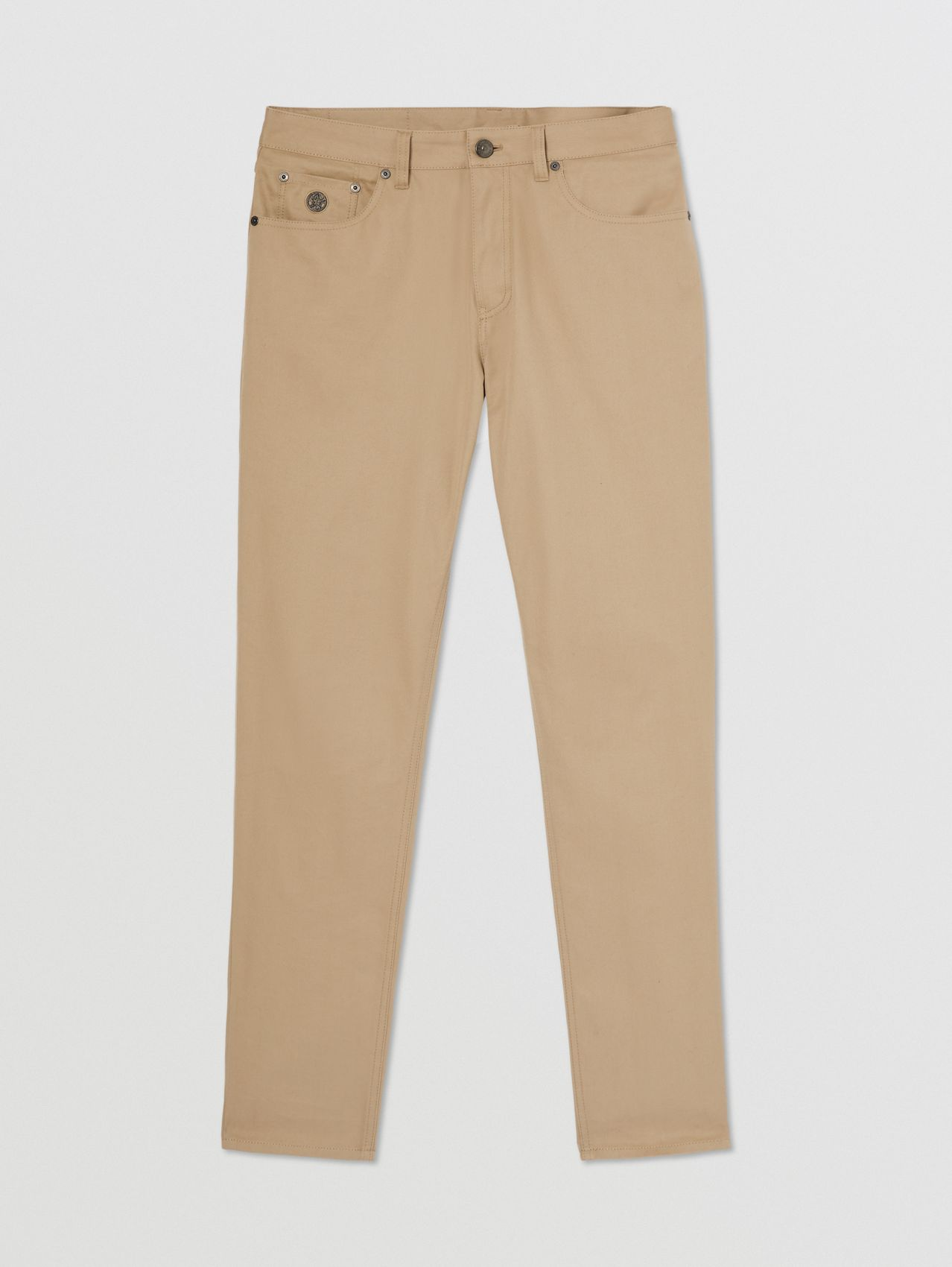 Slim Fit Cotton Chinos in Dark Stone