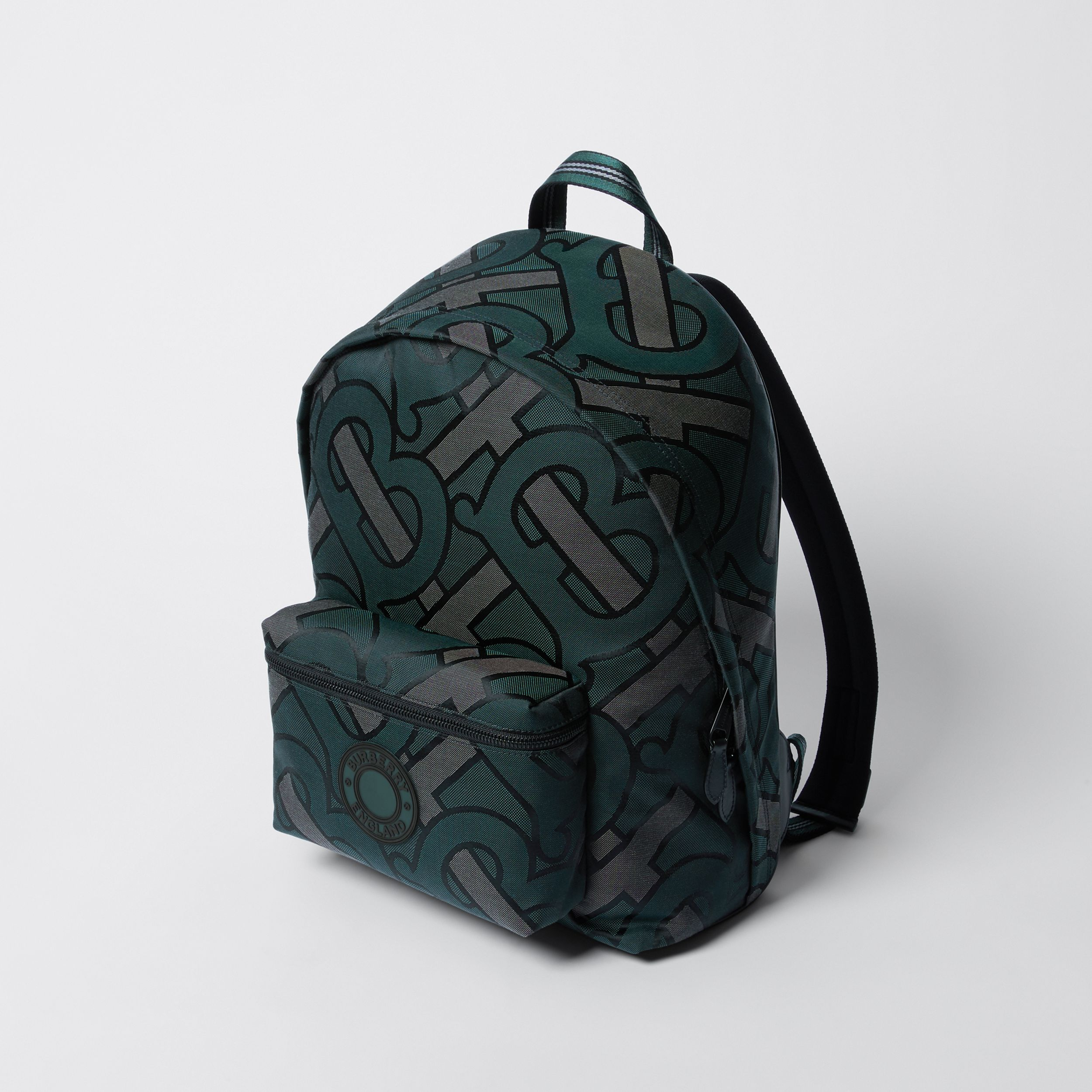 Monogram Recycled Polyester Jacquard Backpack in Forest Green - Men | Burberry - 4