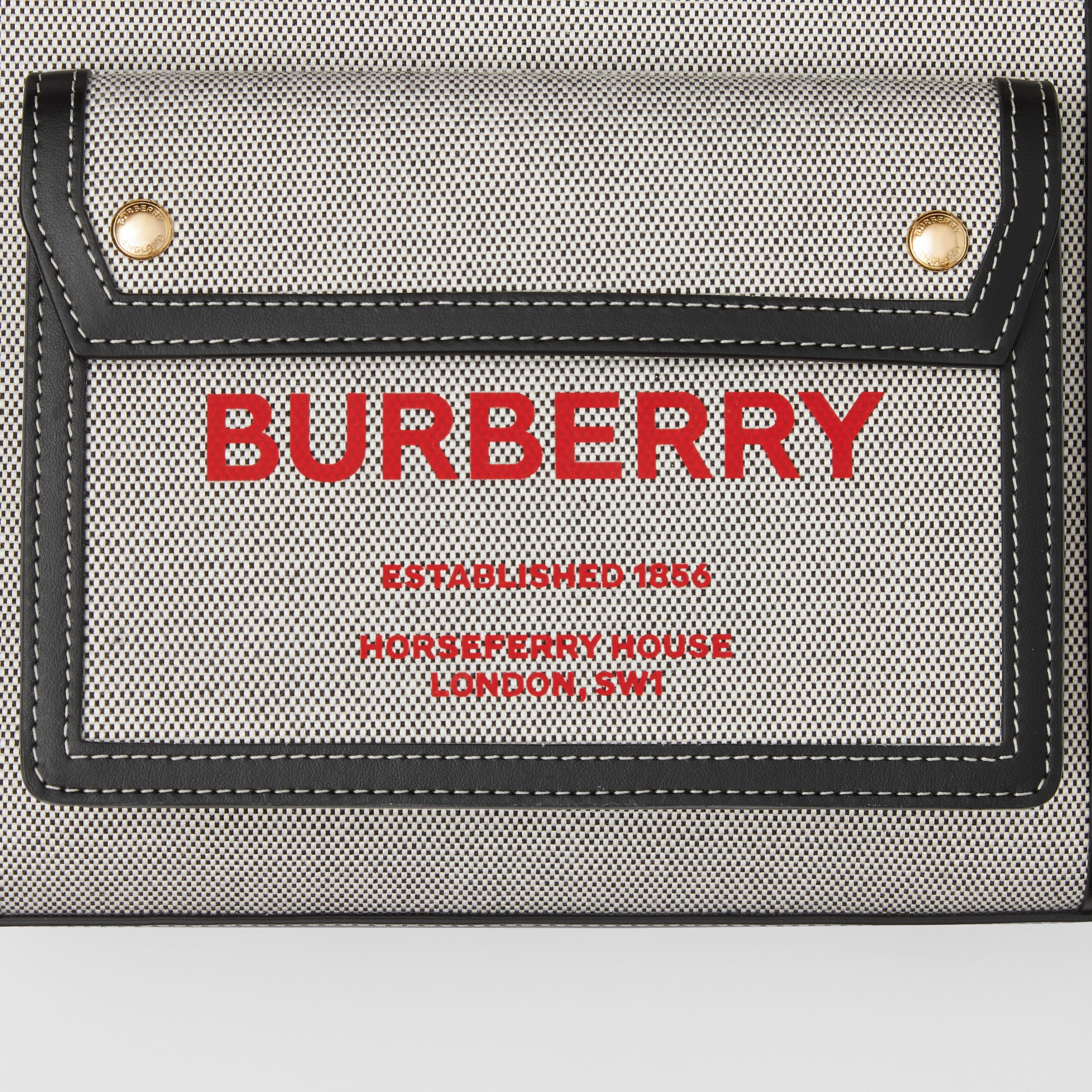 Mini Two-tone Canvas and Leather Pocket Bag in Black/fiery Red - Women | Burberry - 2