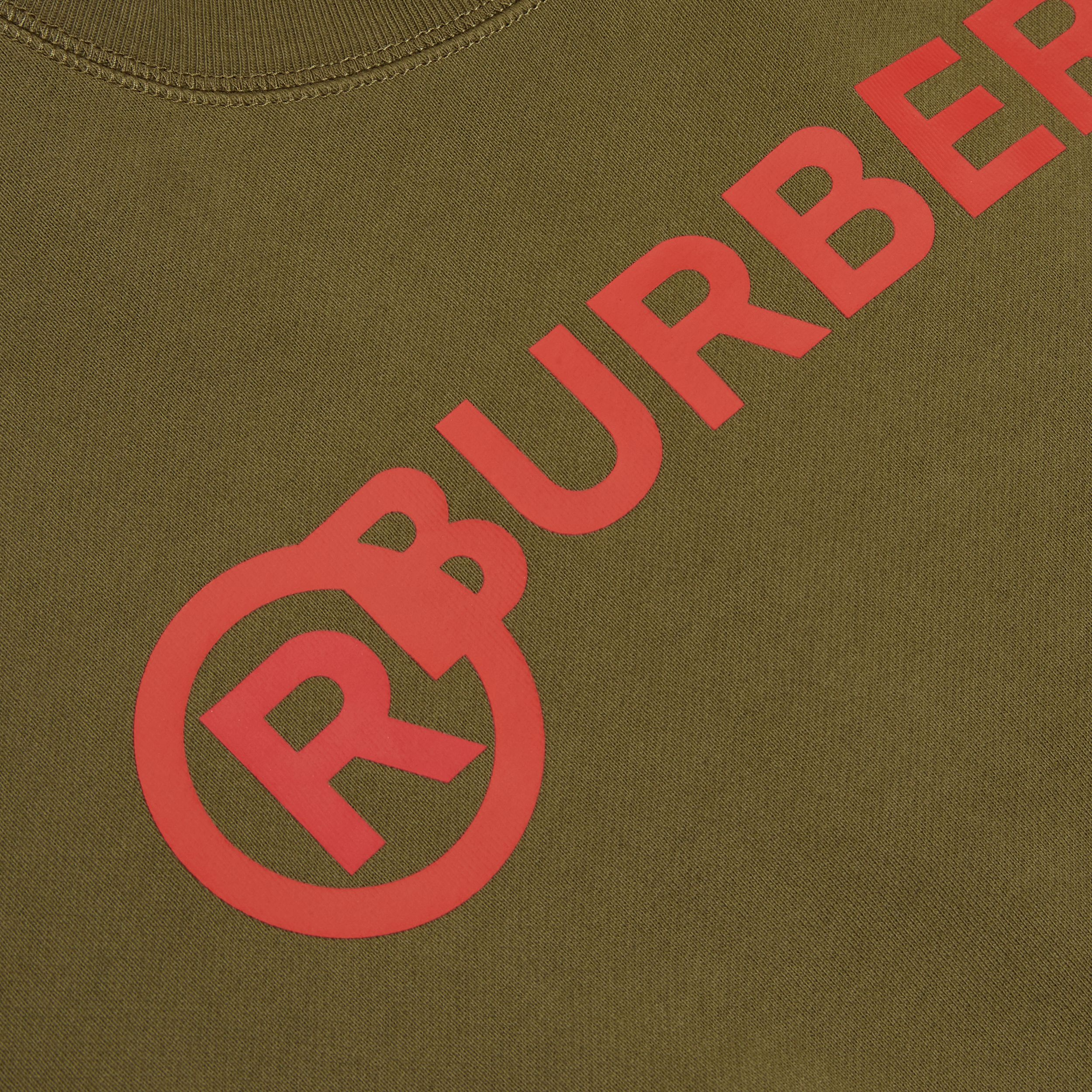 Logo and Stripe Print Cotton Sweatshirt in Khaki Green Melange | Burberry - 2