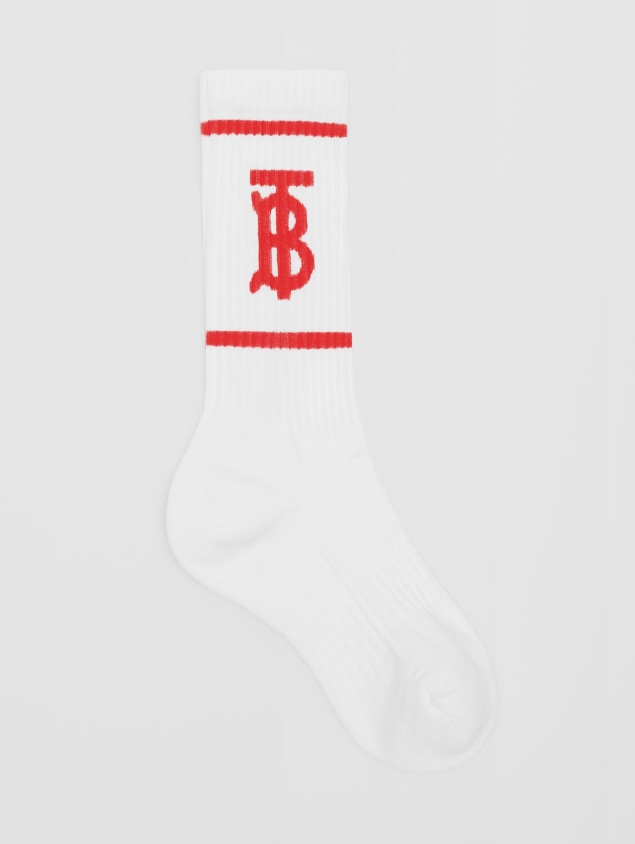 Monogram Motif Intarsia Socks in White/red