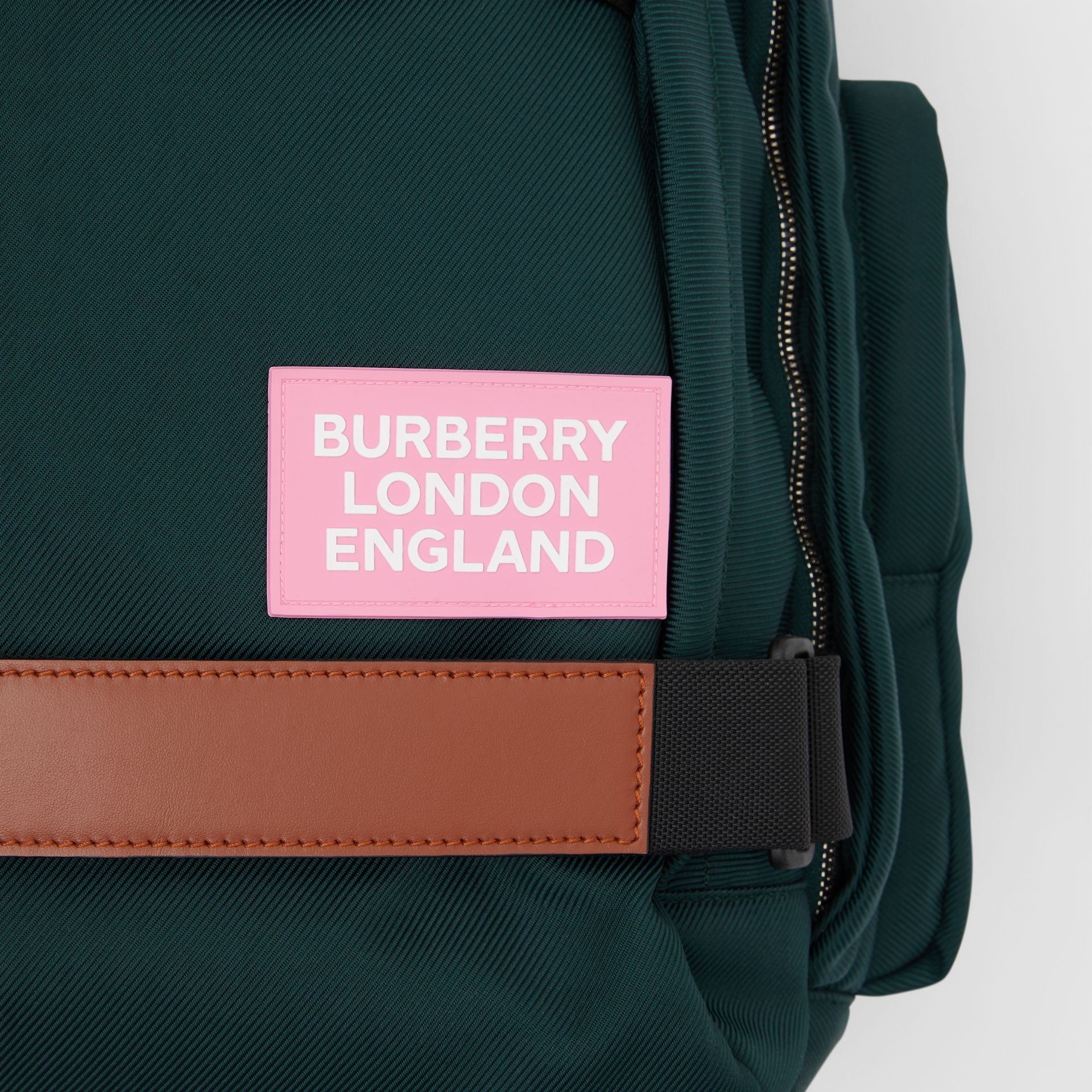 Large Leather Trim Nylon Nevis Backpack in Dark Pine Green | Burberry United States - gallery image 1
