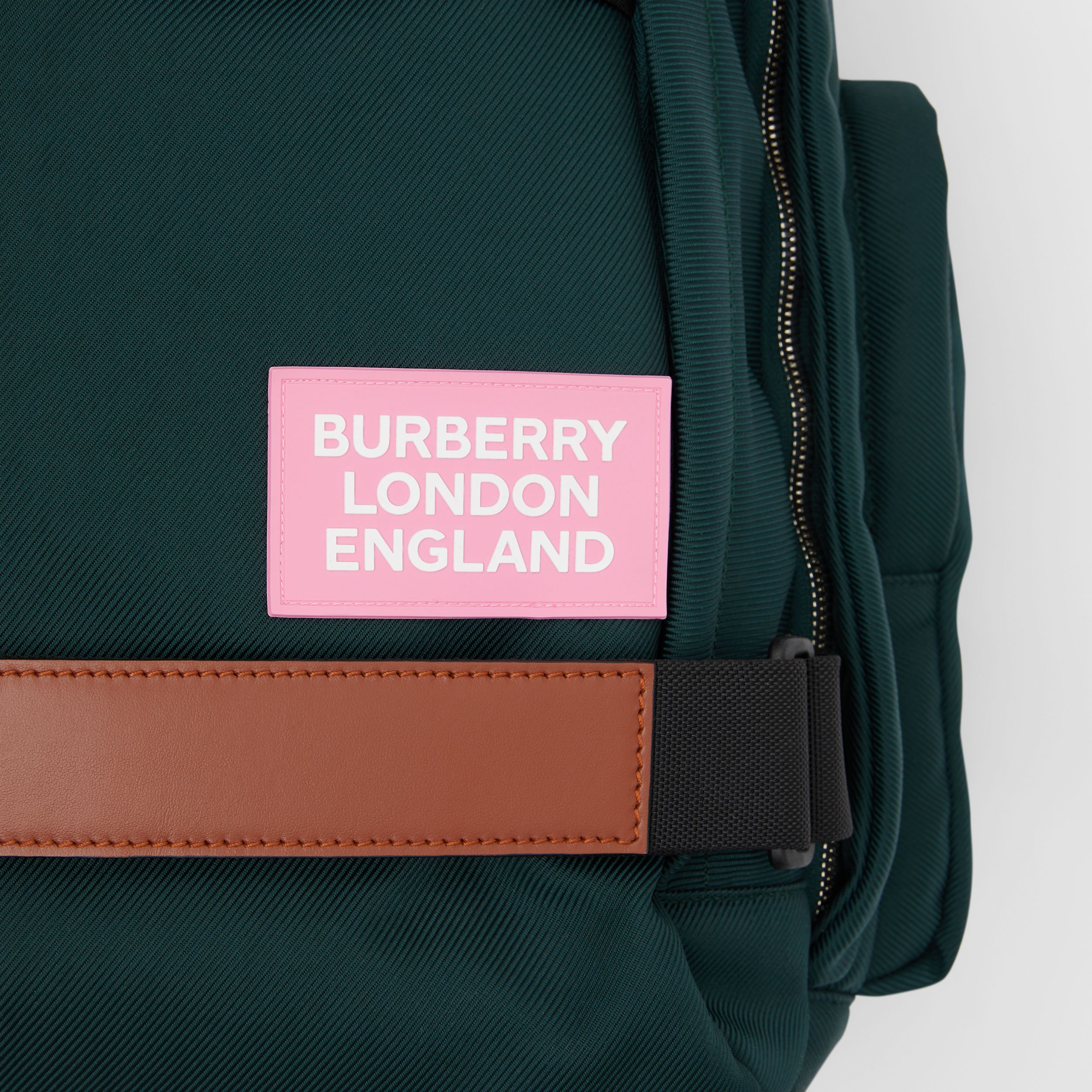 Large Leather Trim Nylon Nevis Backpack in Dark Pine Green | Burberry - 2